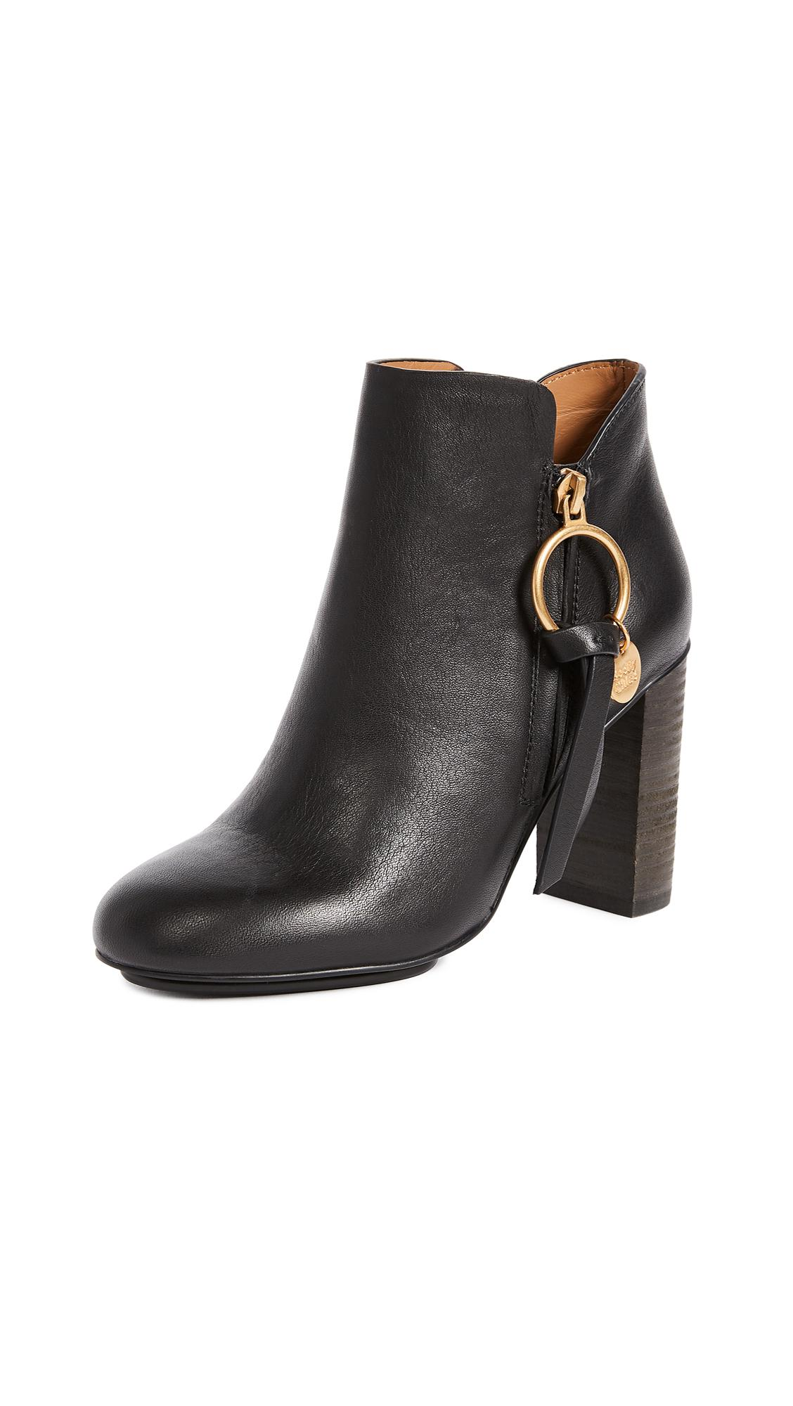 See By Chloé Leather Louise Booties in Nero (Black)