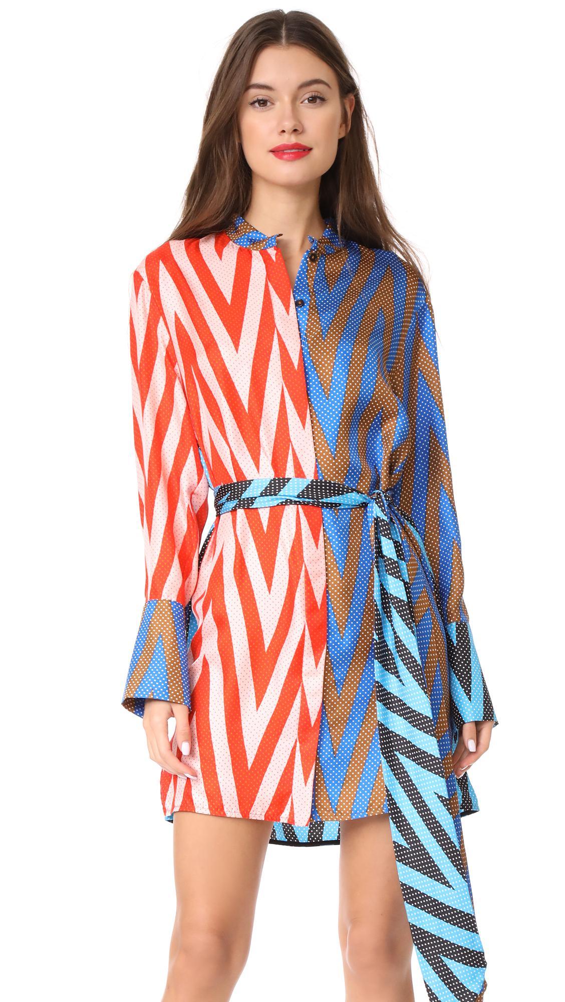 Lyst diane von furstenberg long sleeve shirt dress in blue for Diane von furstenberg shirt