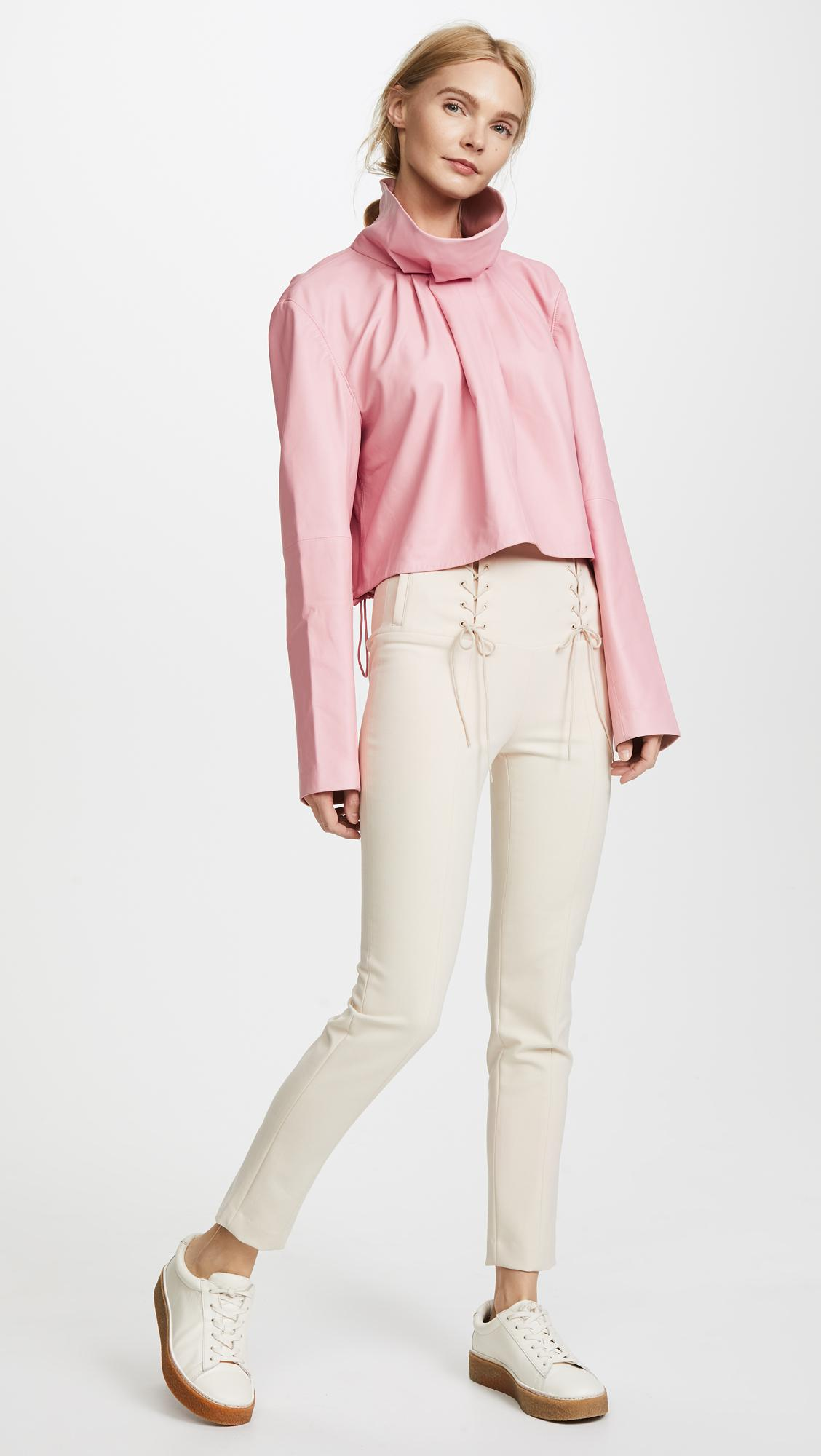 Tibi Leather Sculpted Crop Top in Soft Pink (Pink)