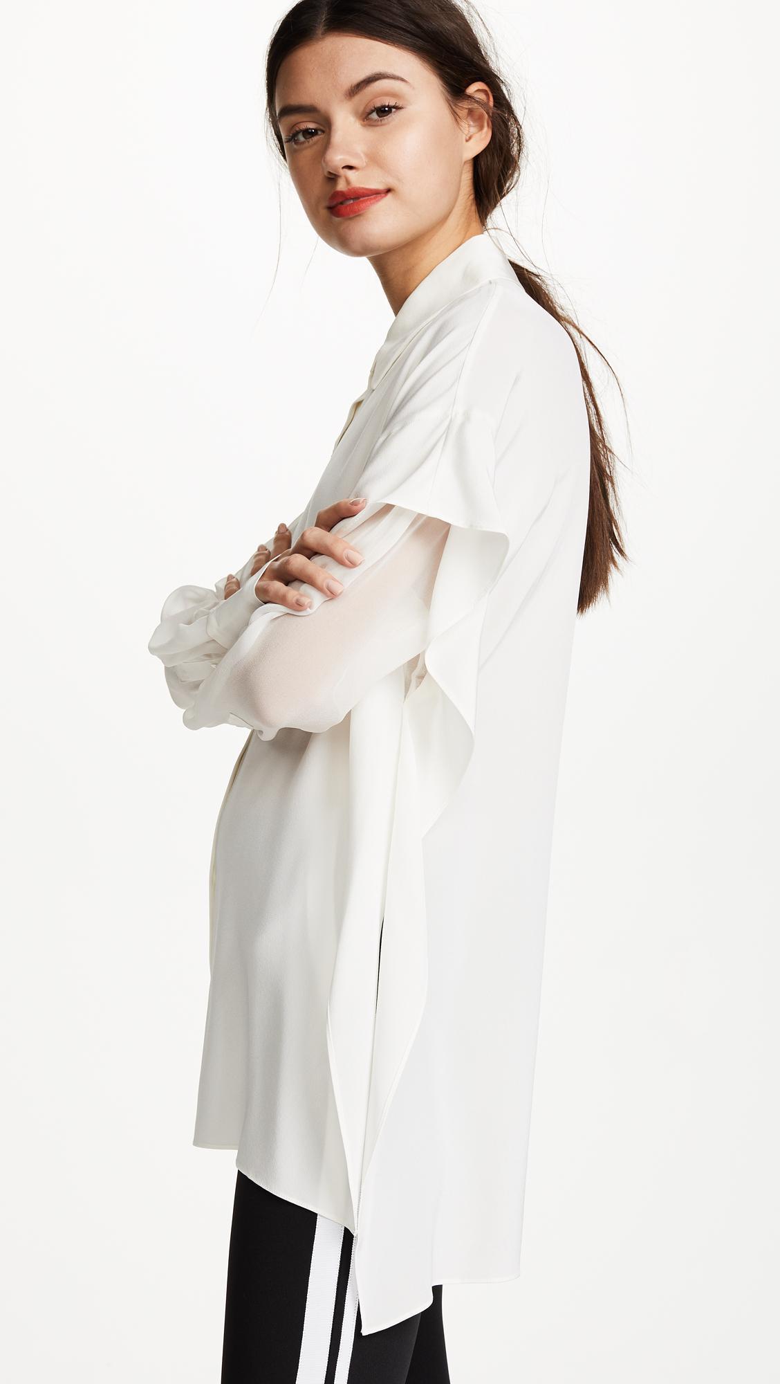 Lyst diane von furstenberg button shirt in white for Diane von furstenberg shirt