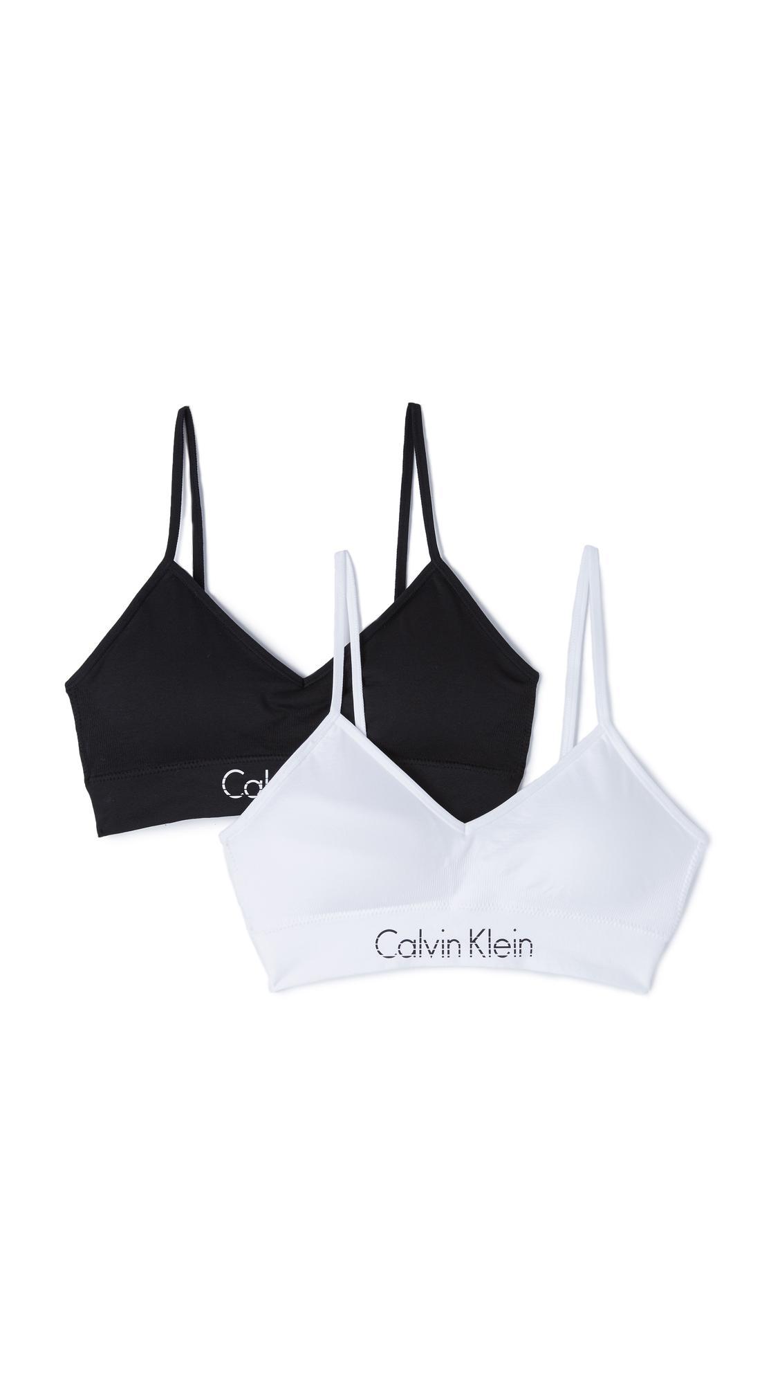 784bc6e026db42 Lyst - Calvin Klein Horizon Bralette 2 Pack in White