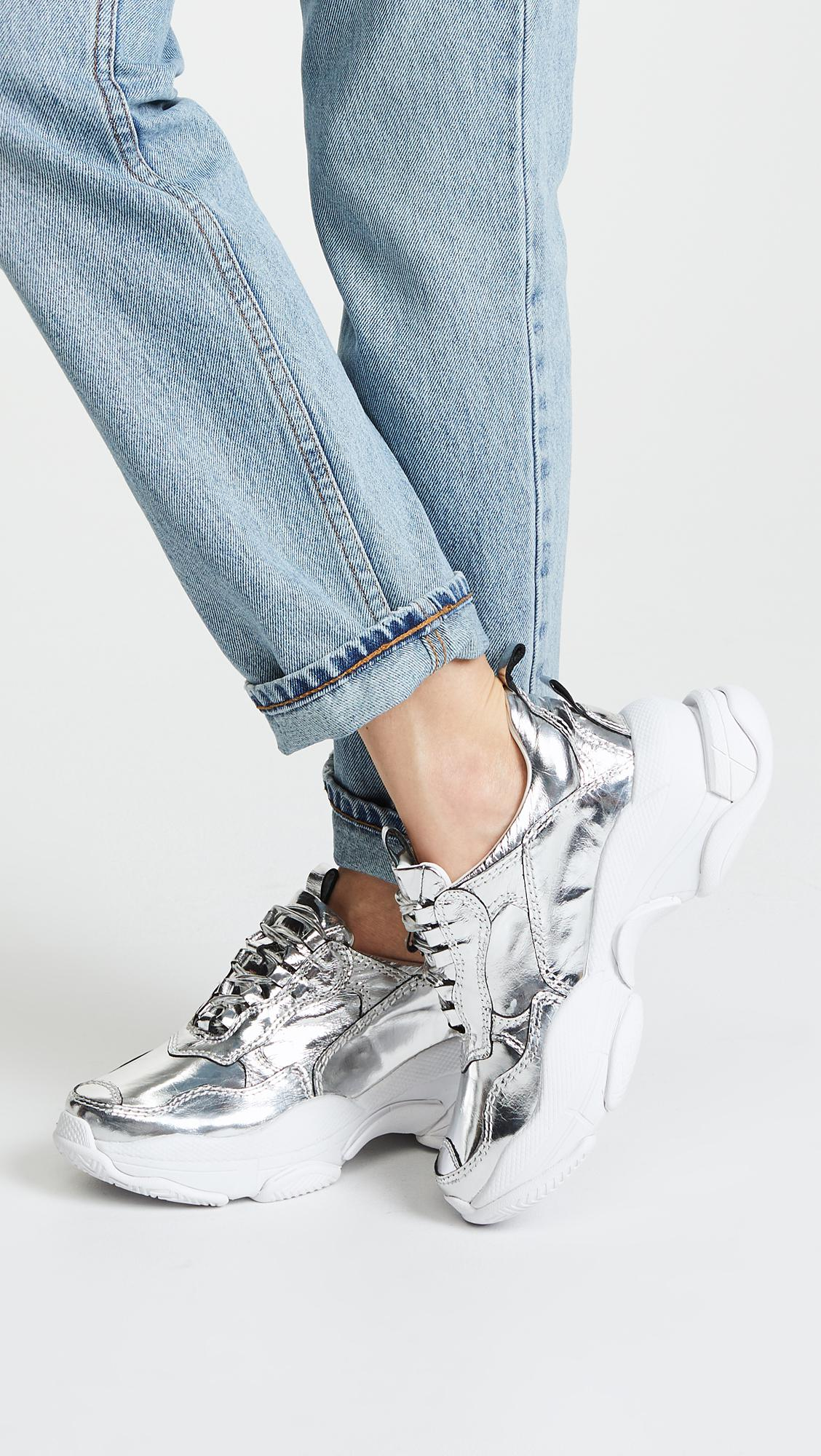 Jeffrey Campbell Leather Lo Fi Sneakers in Metallic