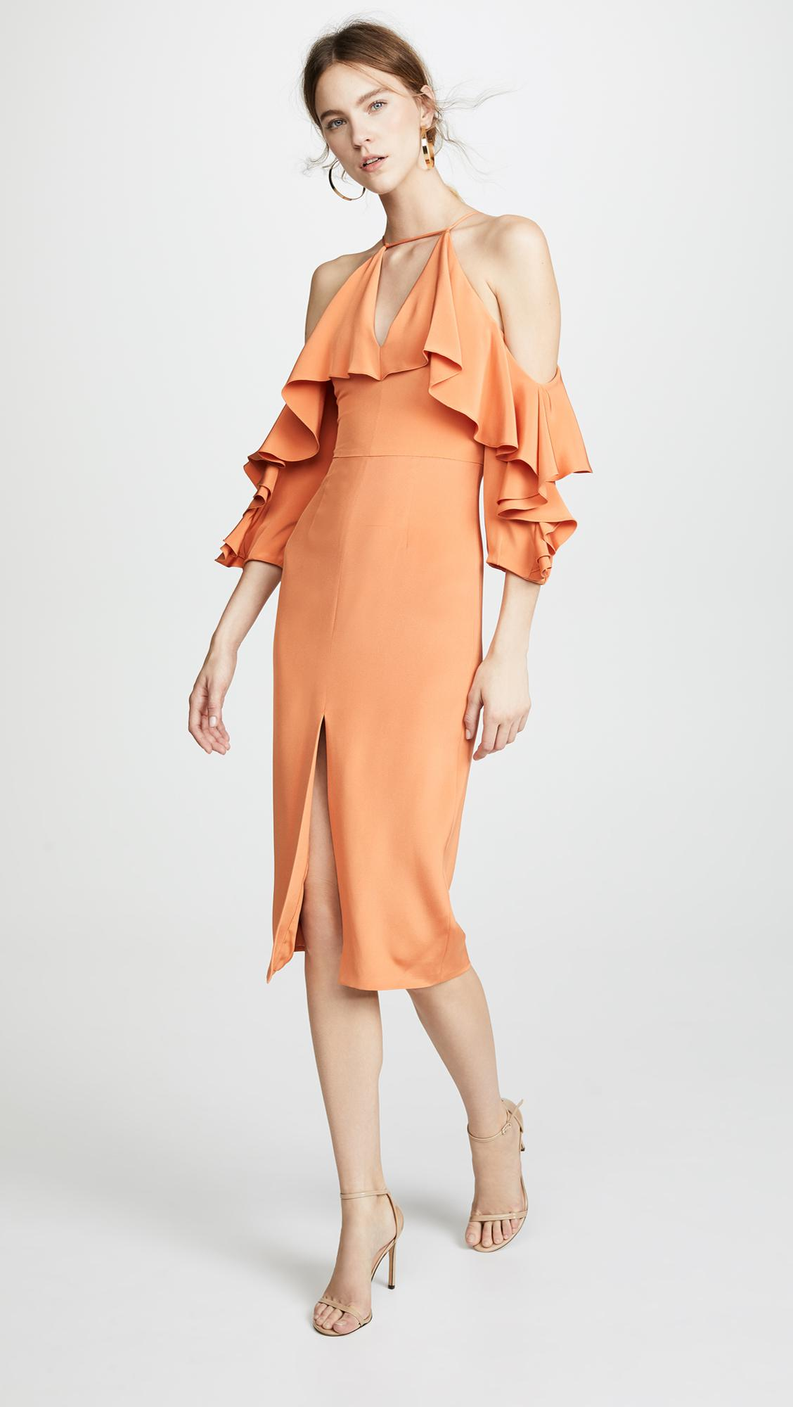 5f66a404f553 Cushnie et Ochs Aura Cold Shoulder Pencil Dress With Halter Neck in ...