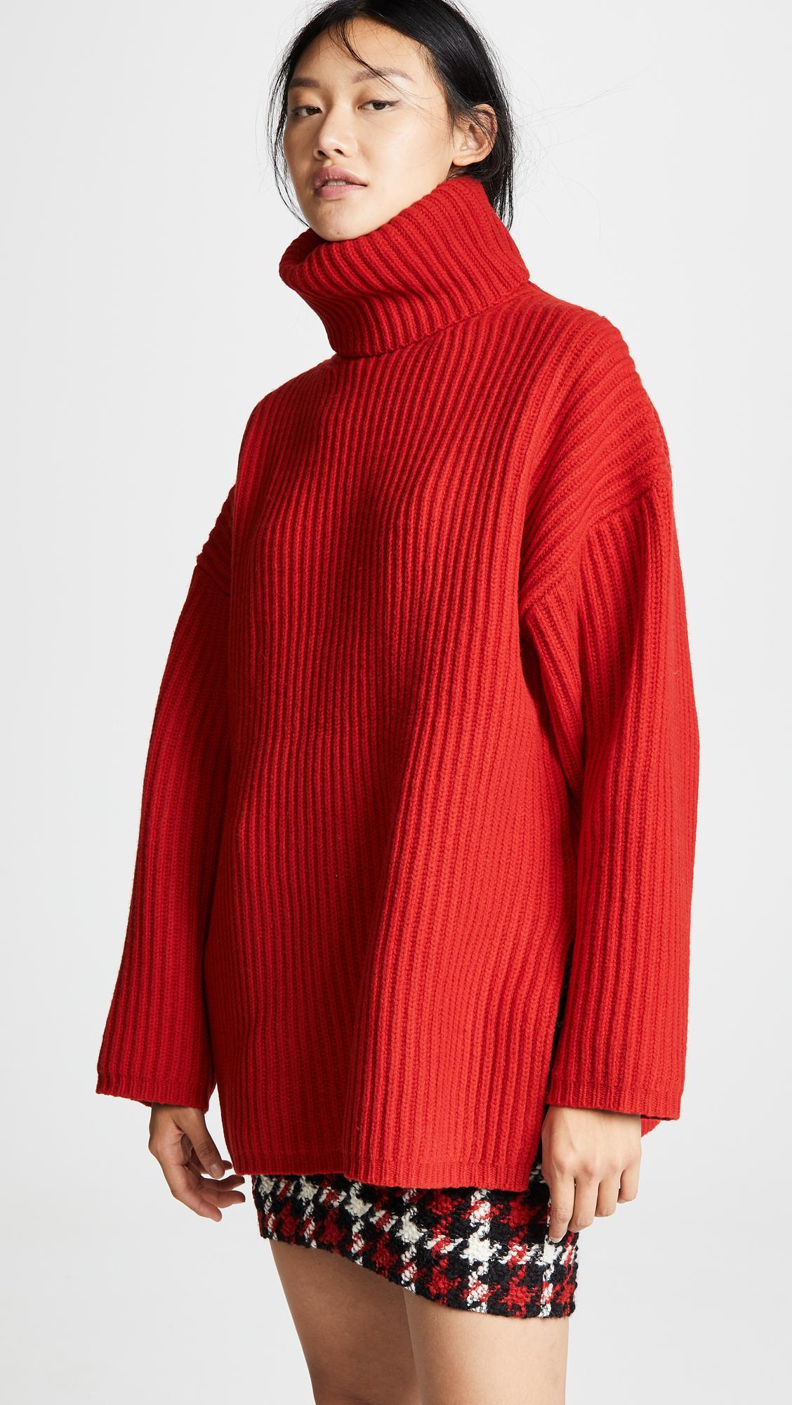 684c335949ea Lyst - Acne Studios Oversized Turtleneck Sweater in Red