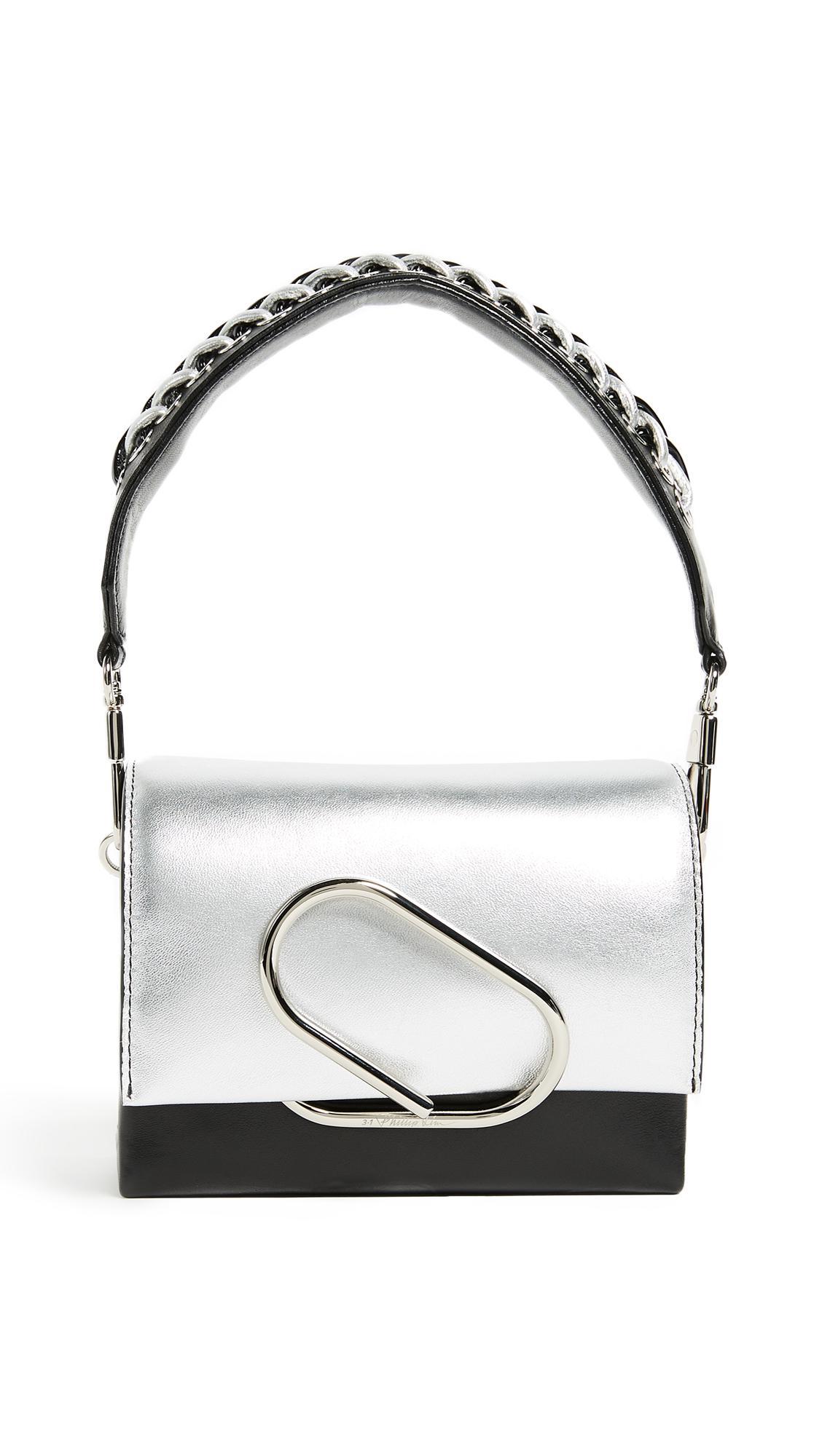 3.1 Phillip Lim Leather Alix Micro Sport Cross Body Bag in Silver/Black (Black)