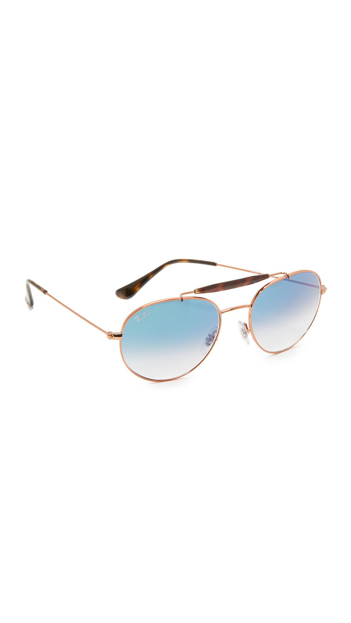 2f58f1fee201a Lyst - Ray-Ban Round Brow Bar Sunglasses in Blue