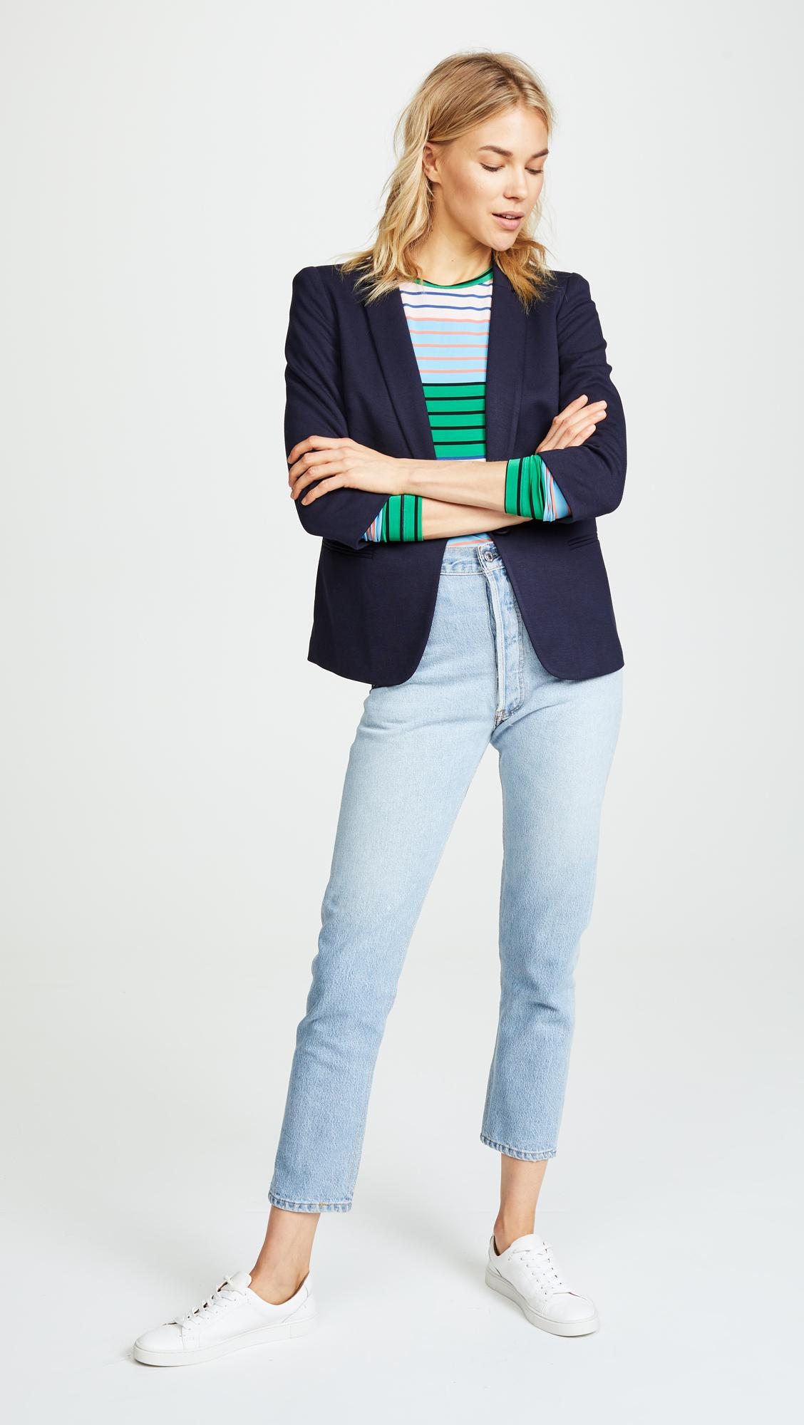 James Jeans Synthetic Shrunken One-button Tuxedo Jacket, Navy in Blue