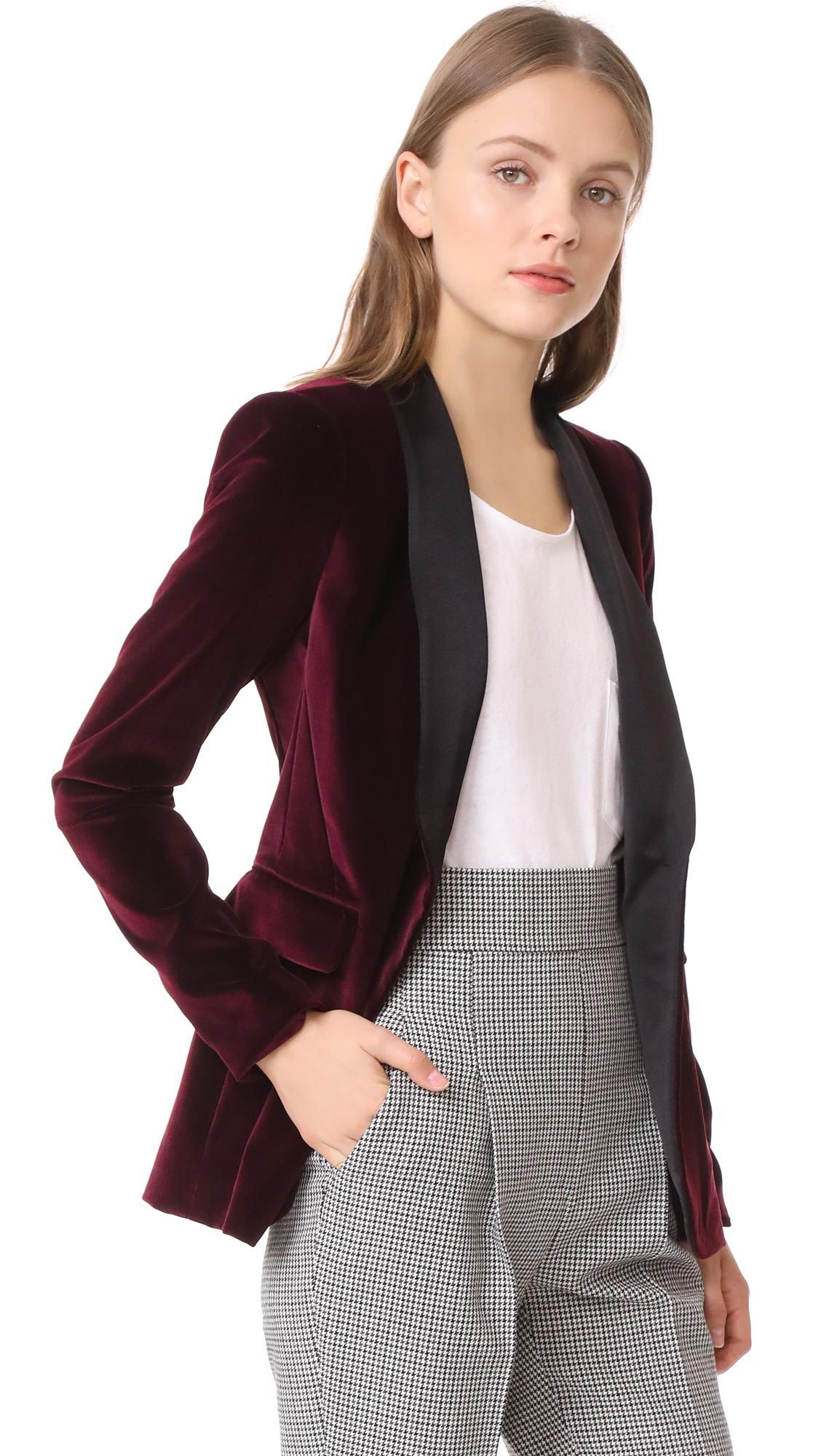Alice Olivia Macey Fitted Velvet Tuxedo Jacket In Black