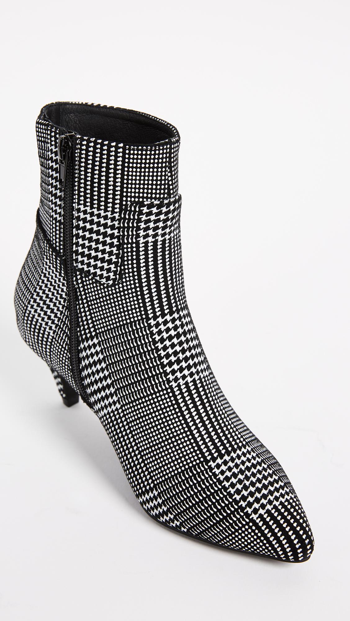Jeffrey Campbell Tweed Muse Kitten Heel Booties in Black/White (Black)