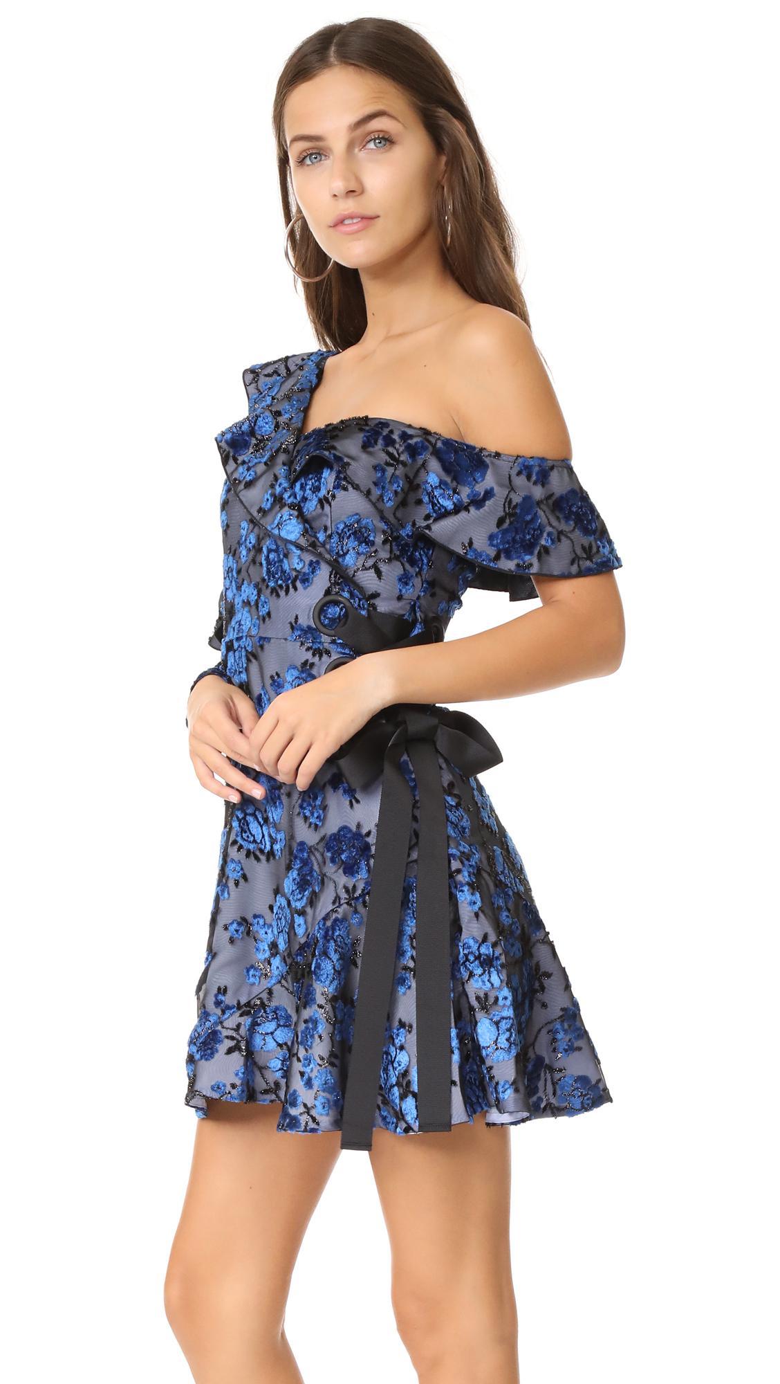 72ddc019619ce Self-Portrait Eyelet Wrap Velvet Mini Dress in Blue - Lyst