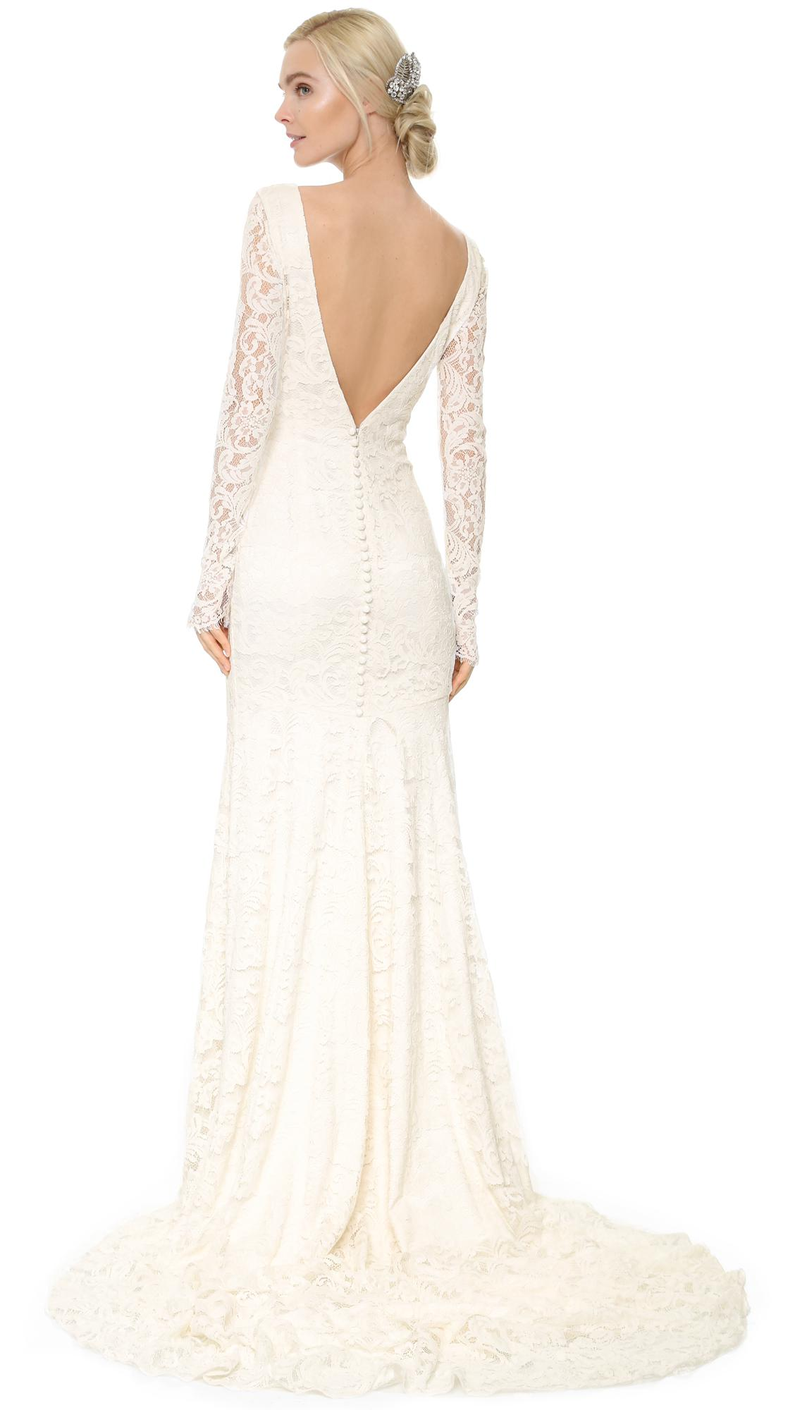 Lyst - Theia Nicole Lace Gown in White