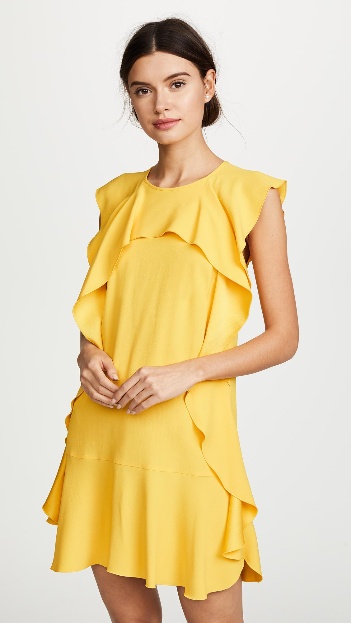 Lyst - Red valentino Ruffle Dress in Yellow