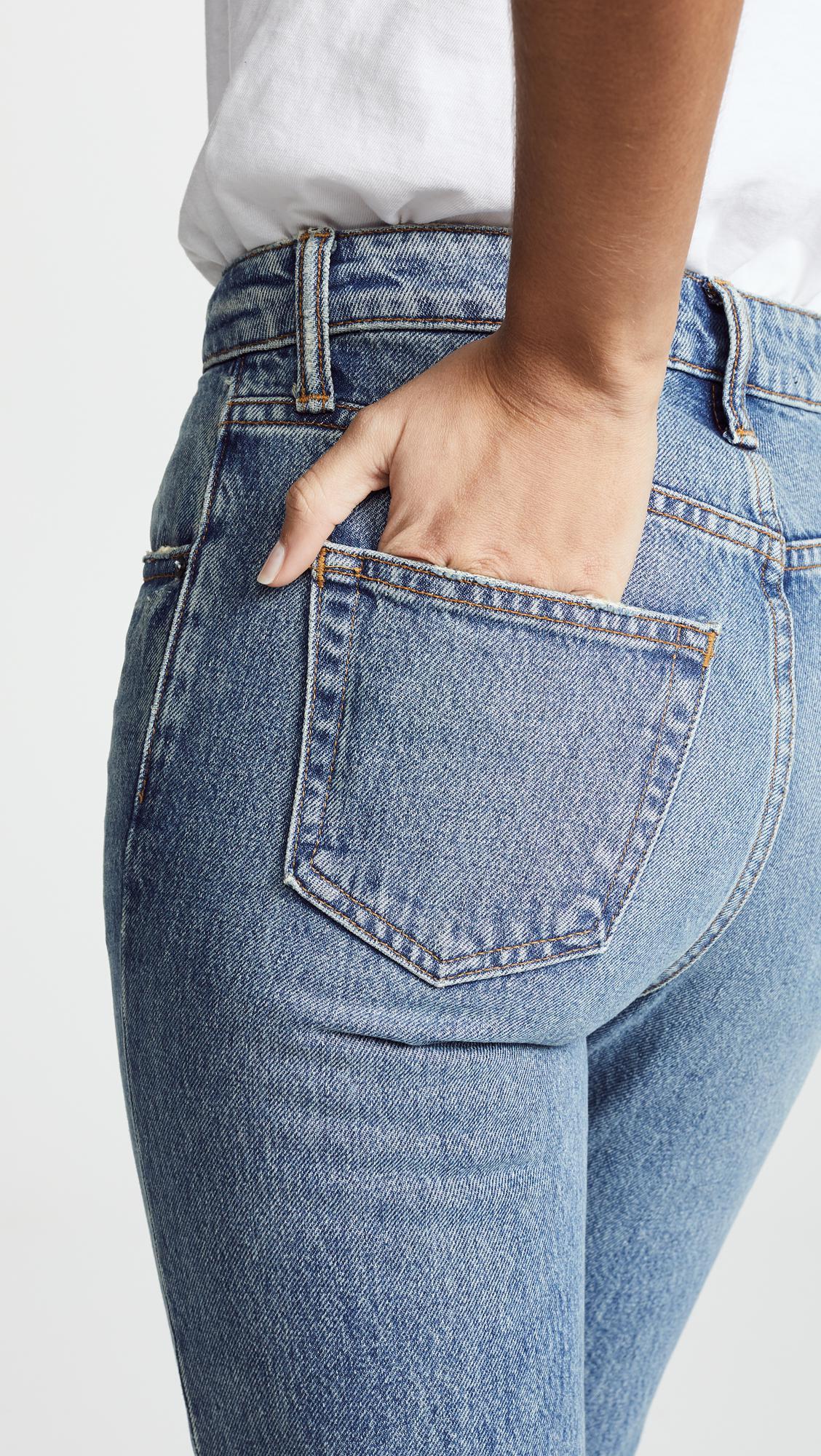 Alexander Wang Denim Cult Cropped Straight Leg Jeans in Blue