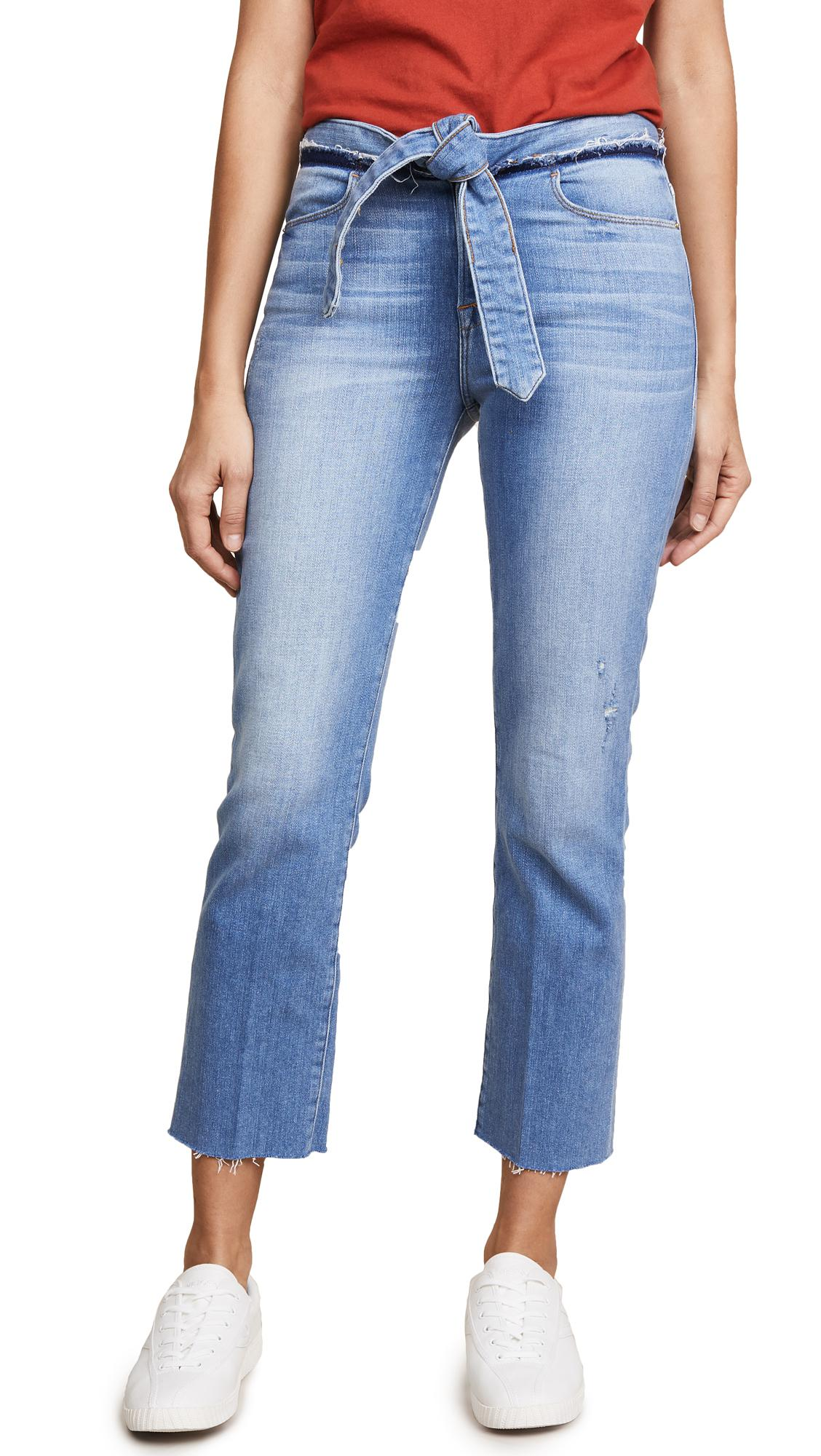 FRAME Denim Le High Straight Jeans With Raw Edges in Blue
