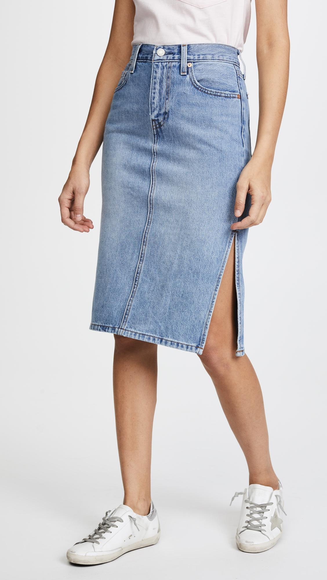 Levi s Side Slit Skirt in Blue - Lyst 04748c9b9
