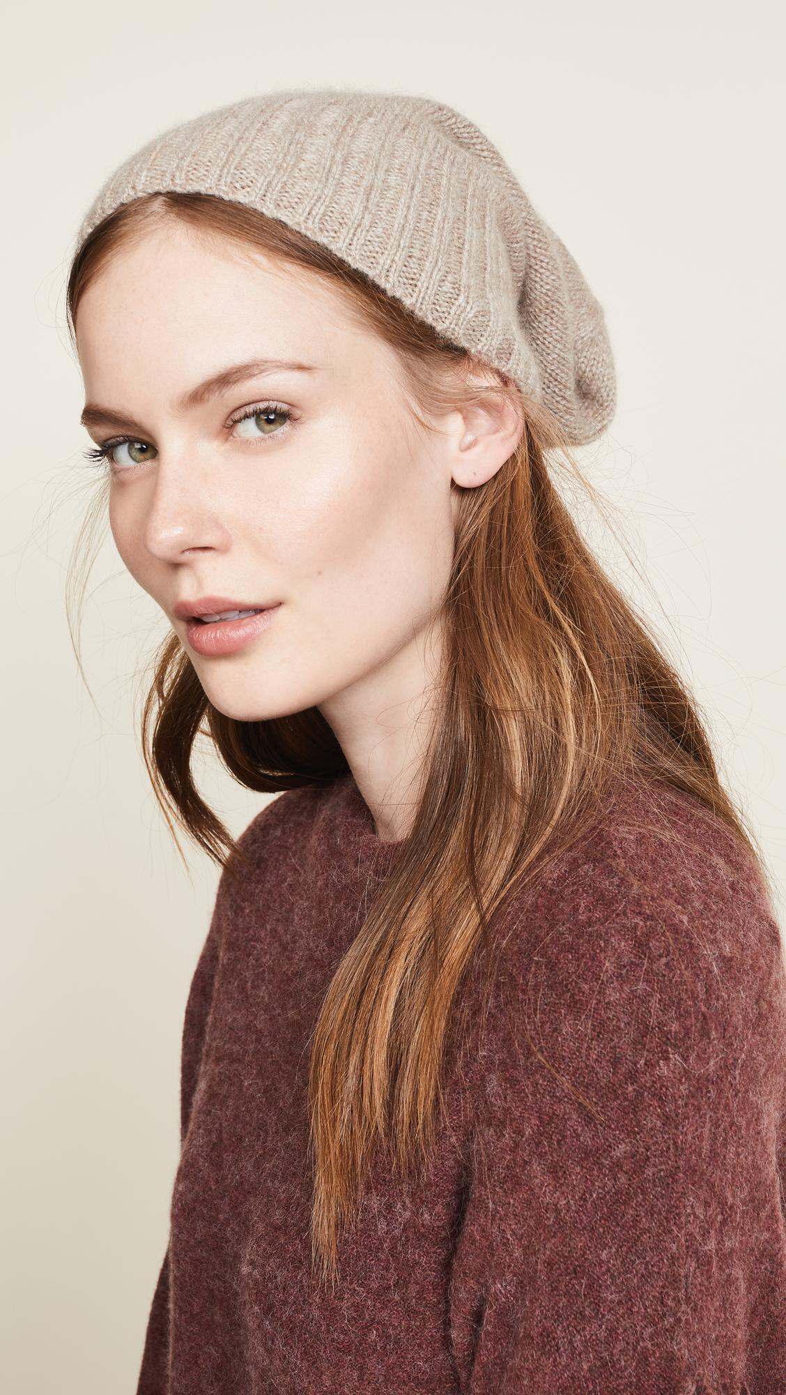 5d3af30395 Hat Attack Cashmere Slouchy Cuff Hat in Brown - Lyst