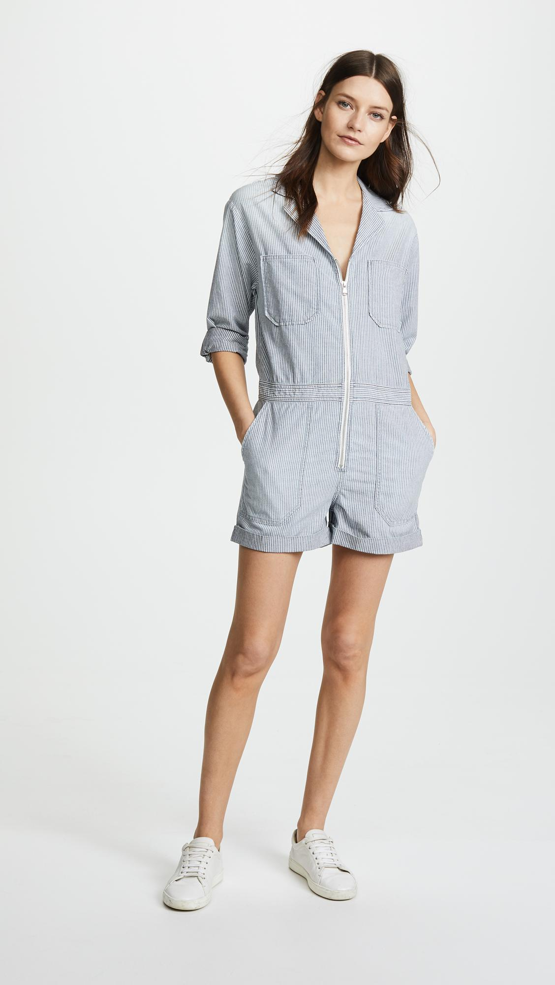 2a984466c242 Lyst - AG Jeans Rochelle Chambray Striped Romper in Blue