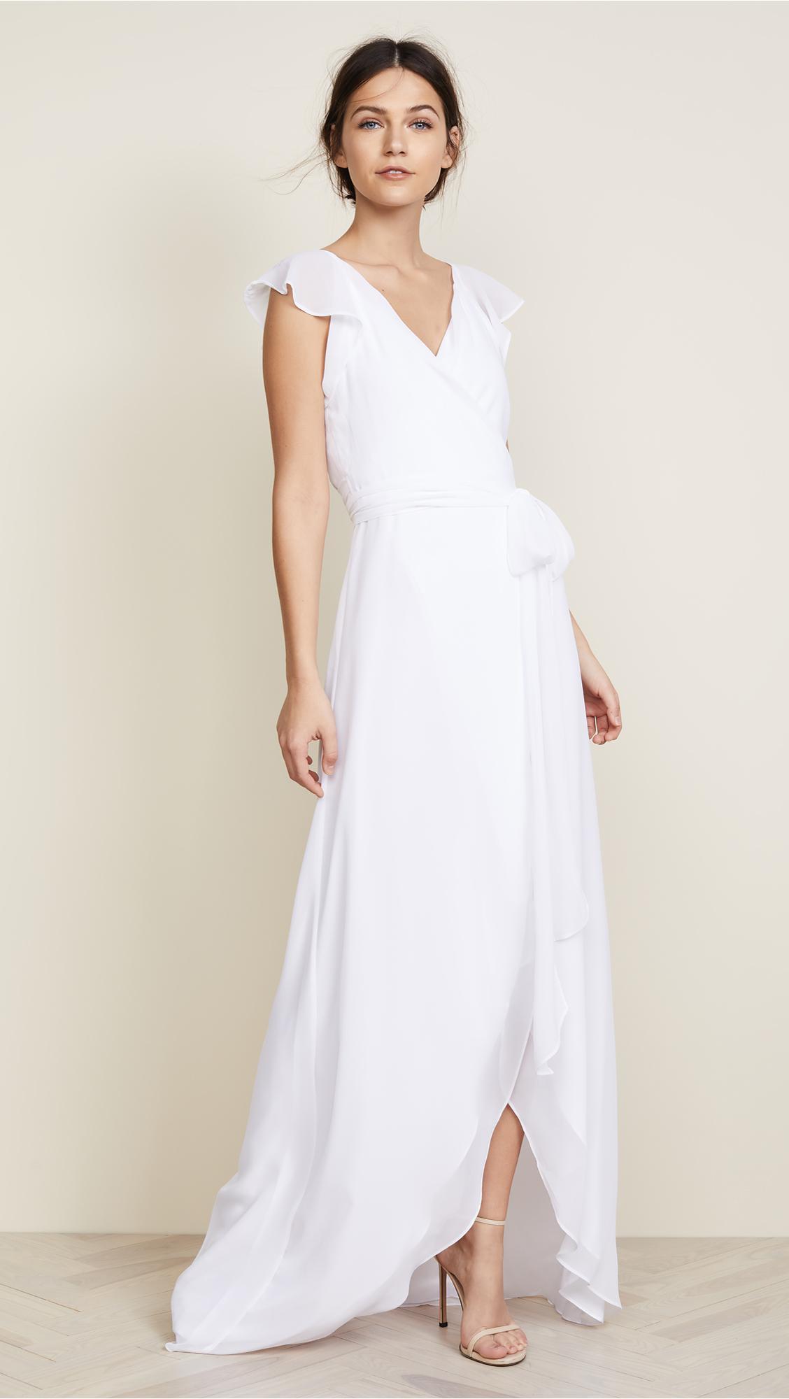 Joanna August Dorian Ruffle Sleeve Wrap Dress In White Lyst