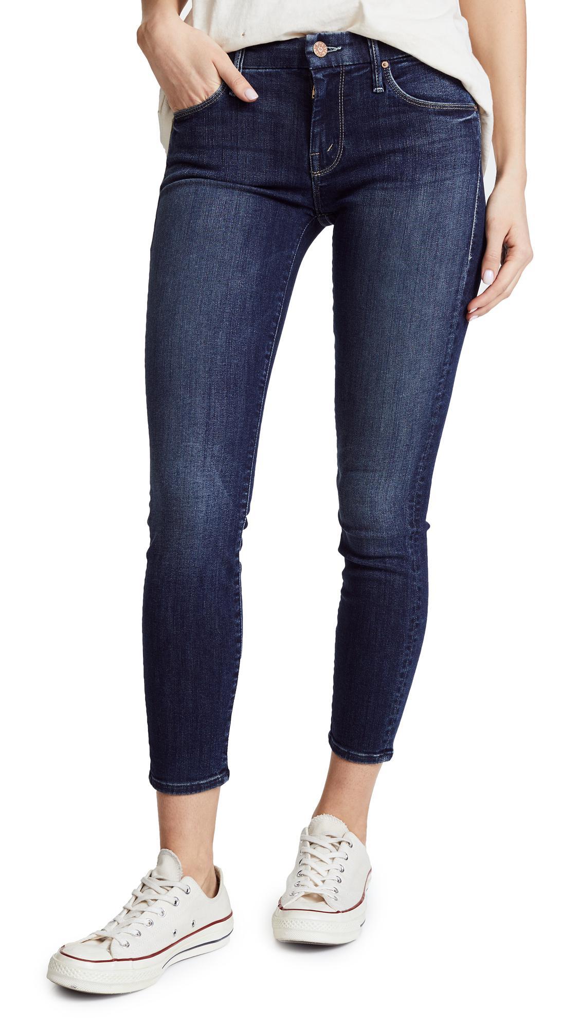 Mother Denim Looker Crop Skinny Jeans in Blue