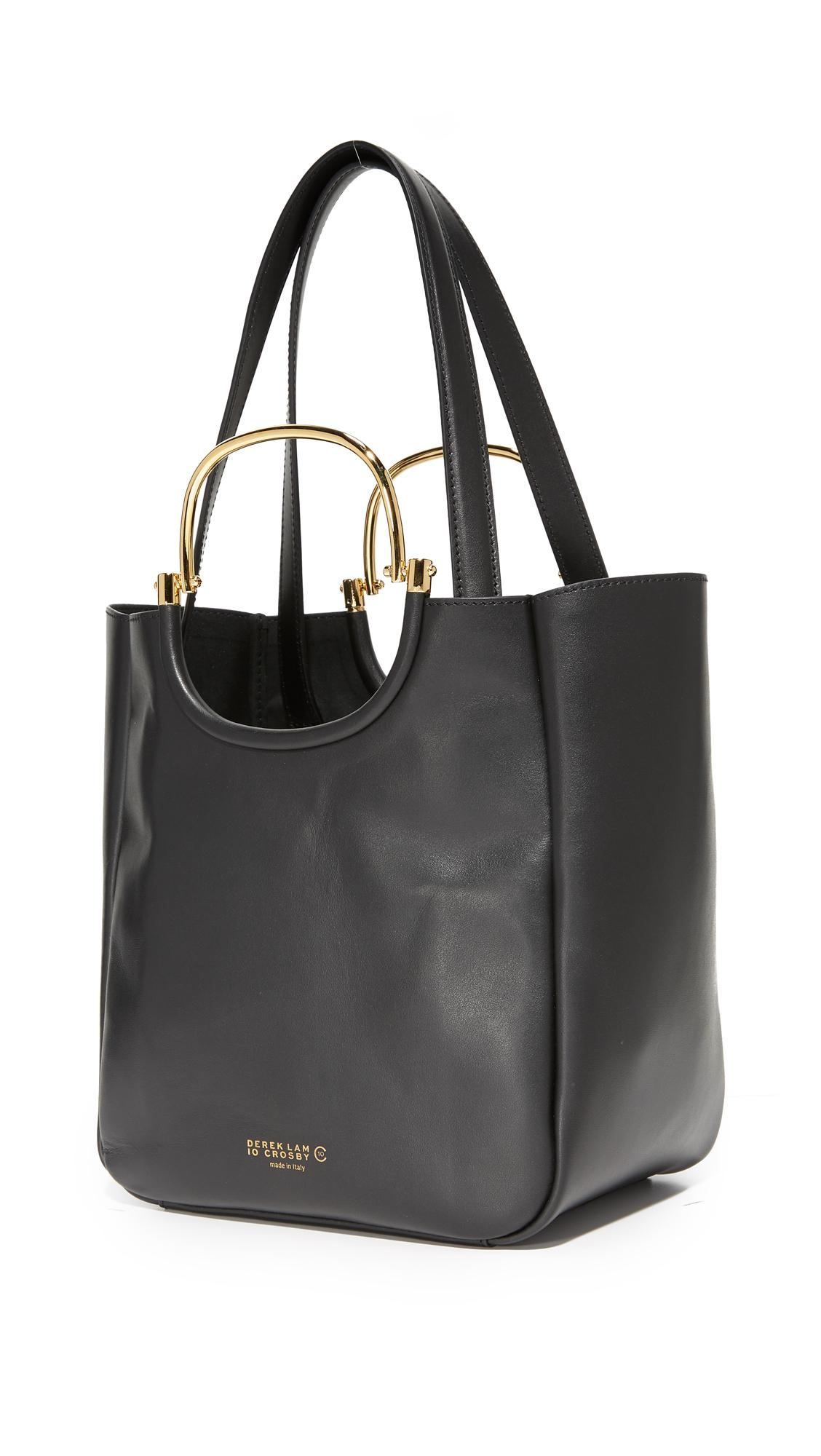 10 Crosby Derek Lam Leather Mini Hudson Tote in Black