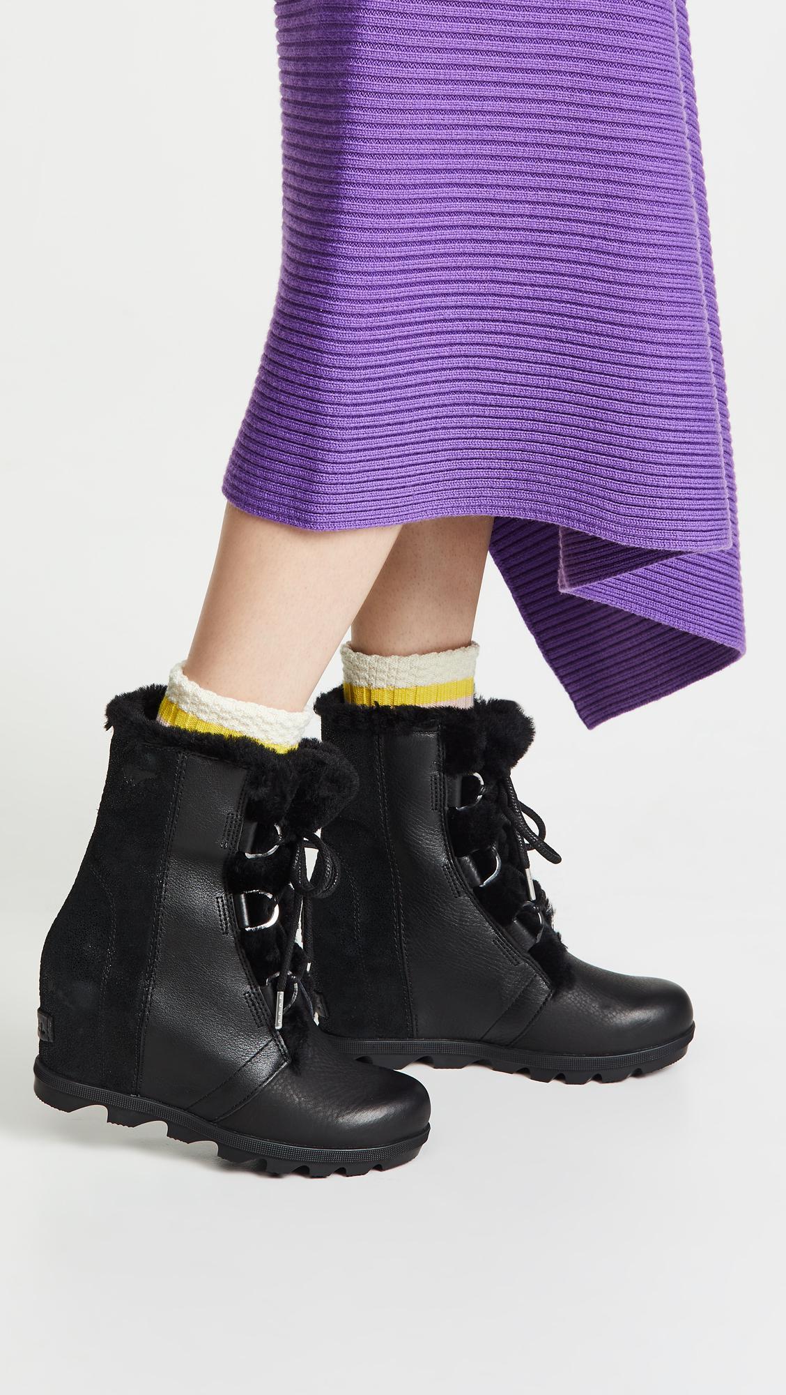 69be741c473 Sorel - Black Joan Of Arctic Wedge Ii Shearling Boots - Lyst. View  fullscreen