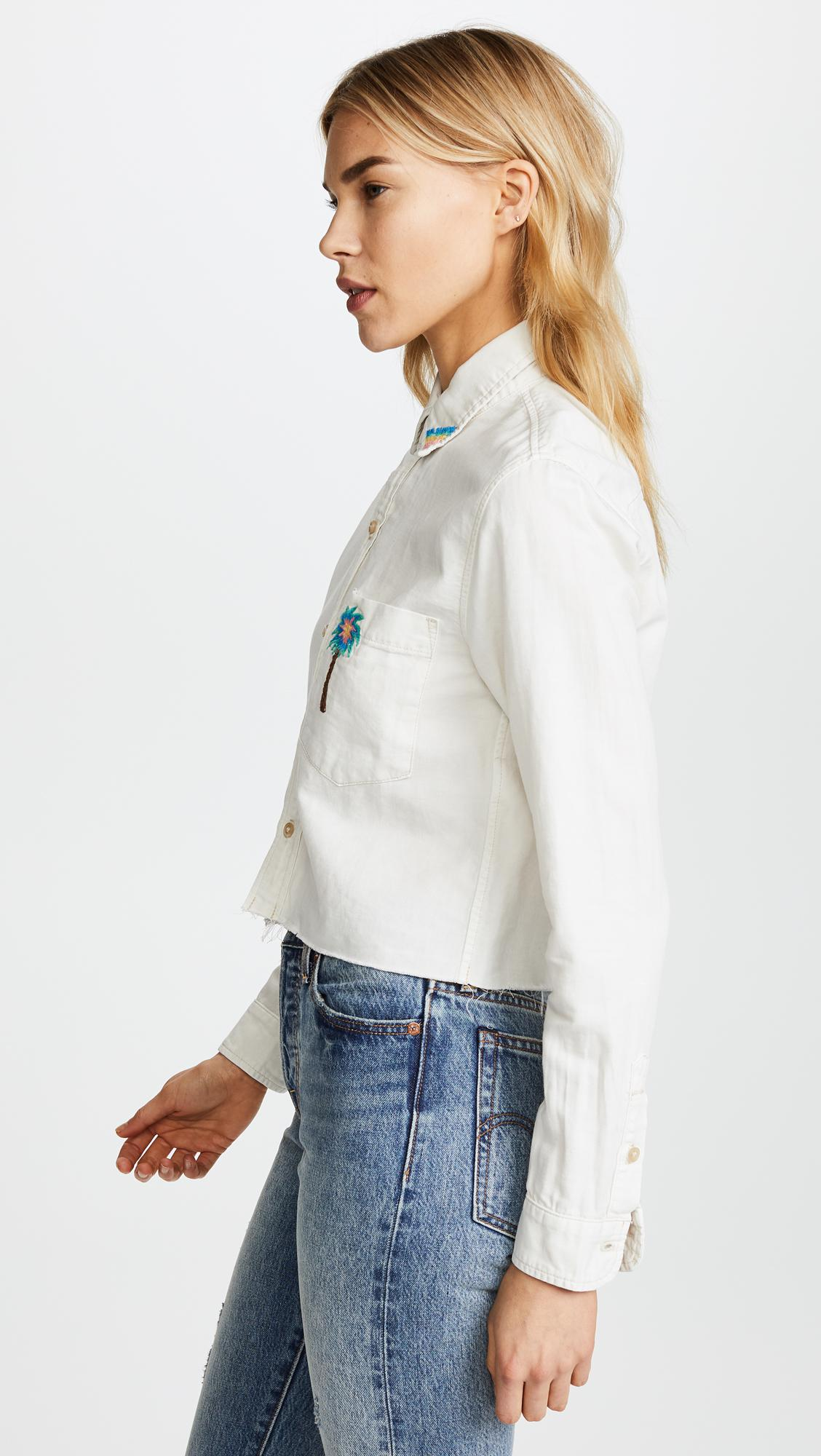 Mother Cotton The Long Sleeve Shirt With Embroidery in White