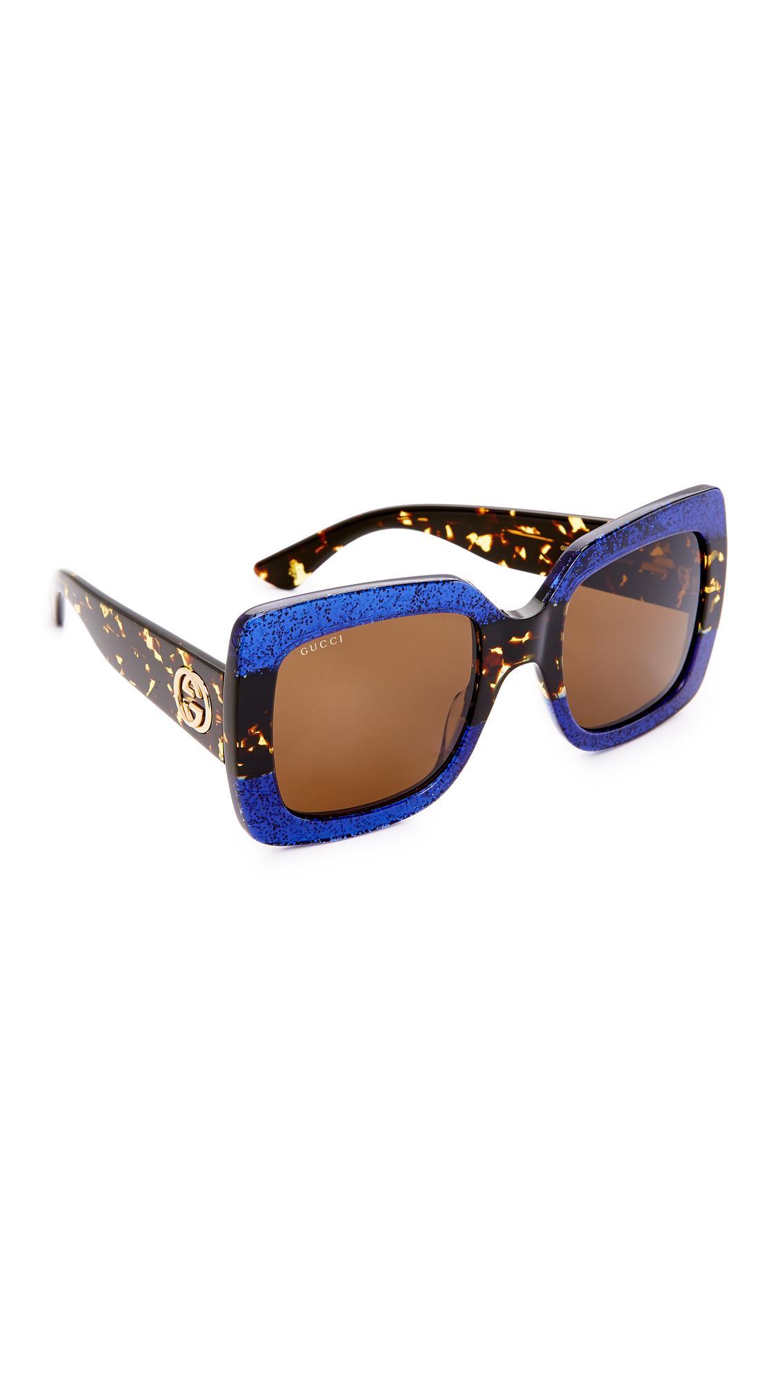 c62929496063 Gucci - Blue Square Urban Web Block Sunglasses - Lyst. View fullscreen