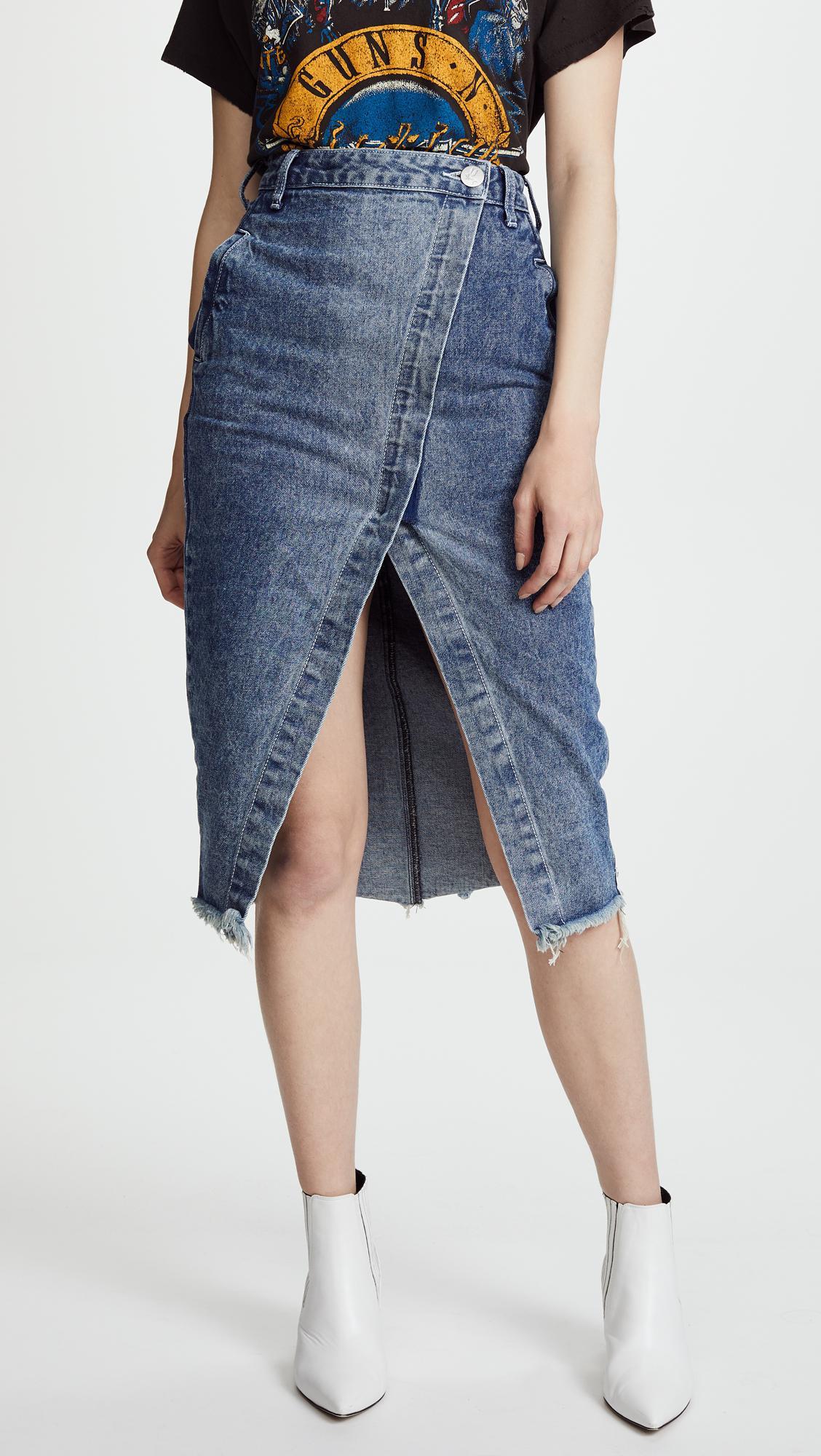 b1097aa88251 One Teaspoon Blue Society Wrap Denim Skirt in Blue - Lyst