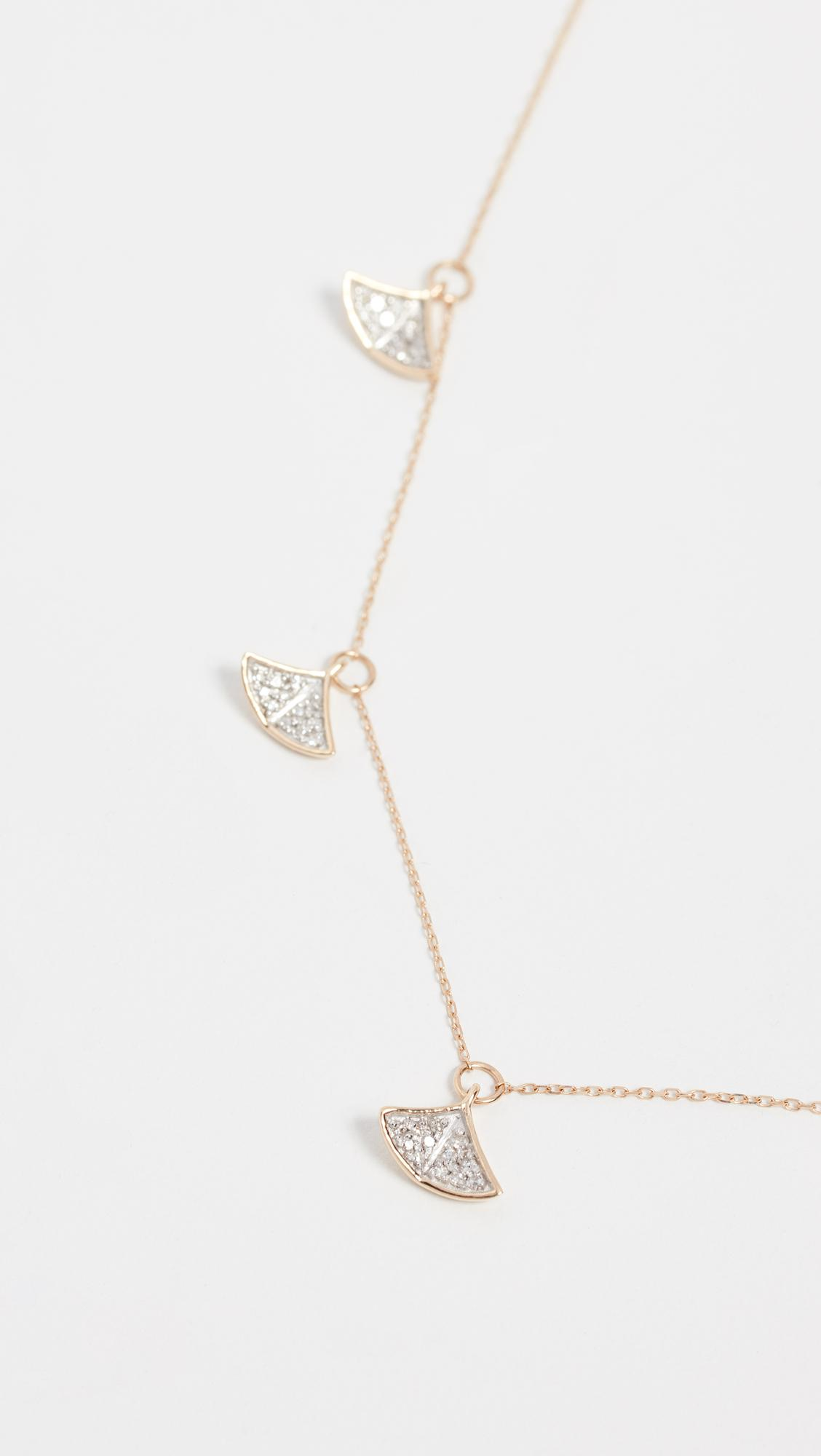 Adina Reyter 14k Gold Pave Folded Fan Necklace in Yellow Gold (Metallic)