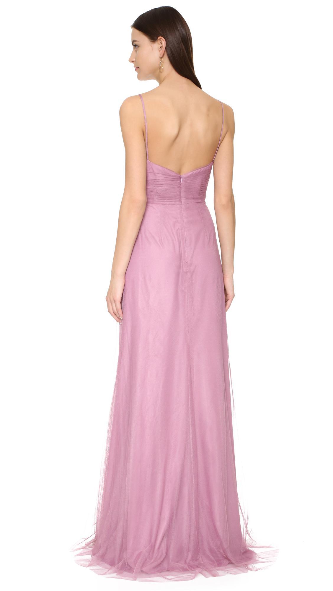 df78c7195be Lyst - Monique Lhuillier Bridesmaids Draped Tulle Gown in Purple