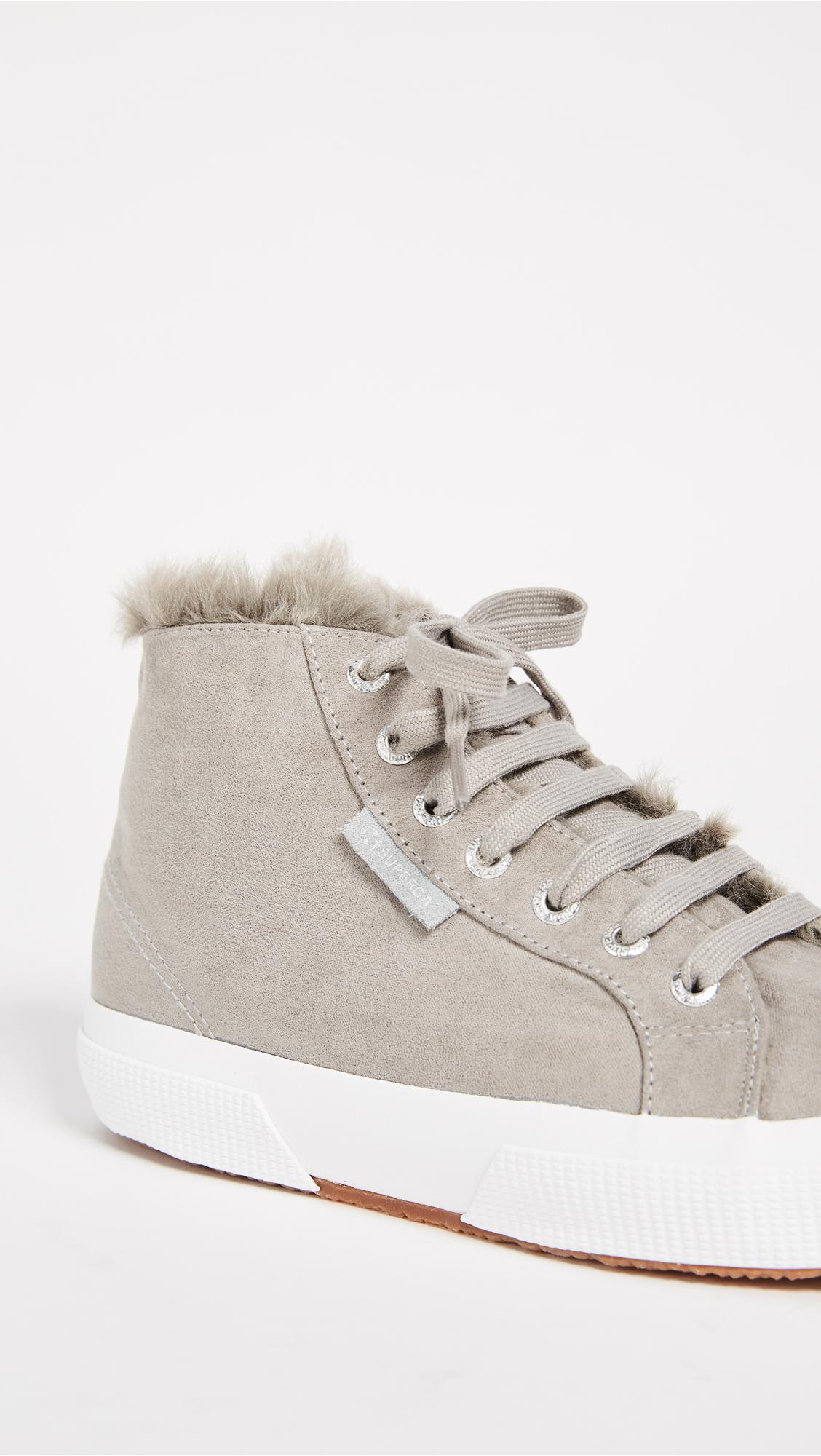 Superga 2795 Sherpa Lined High Top Sneakers in Grey (Grey)