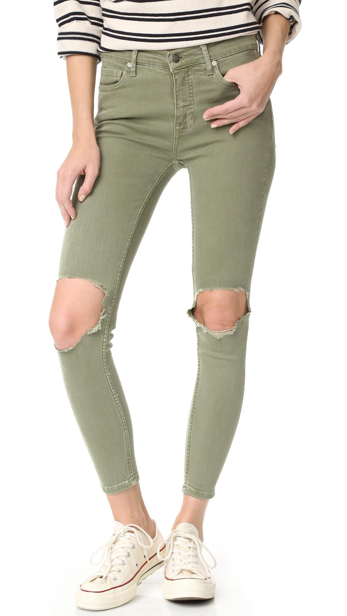 9c2dd874c Free People High Rise Busted Skinny Jeans in Green - Lyst