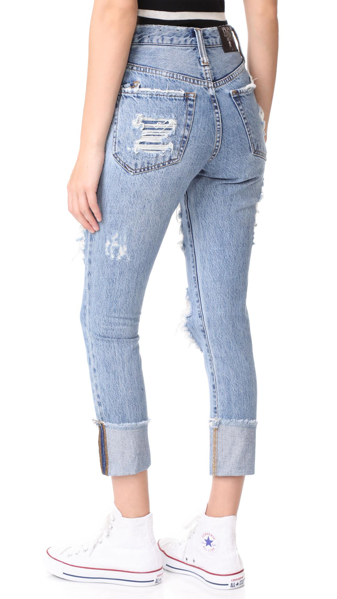 lyst prps amx high waist boyfriend jeans in blue. Black Bedroom Furniture Sets. Home Design Ideas