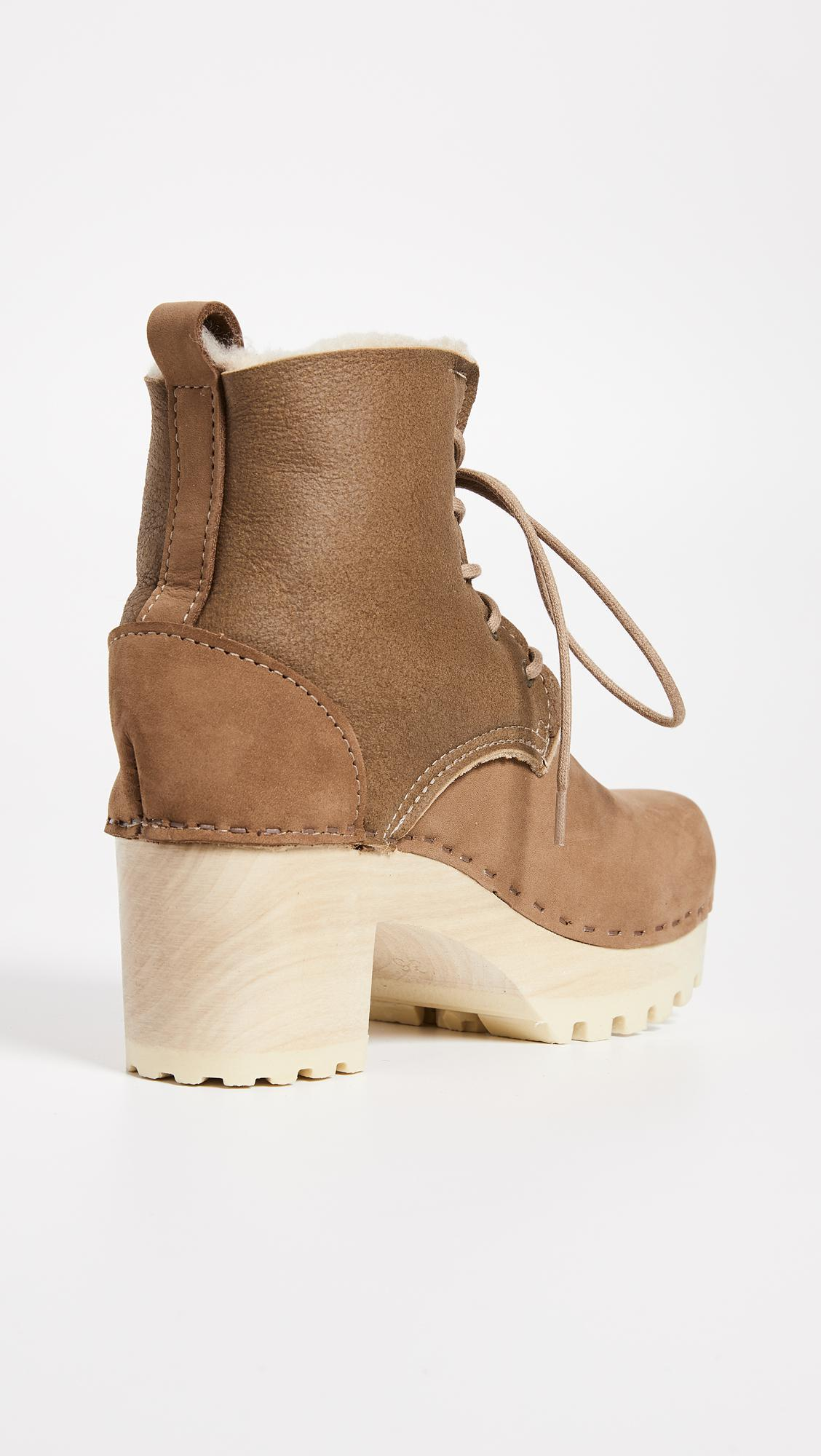 No. 6 Leather Lander Lace Up Shearling Boots