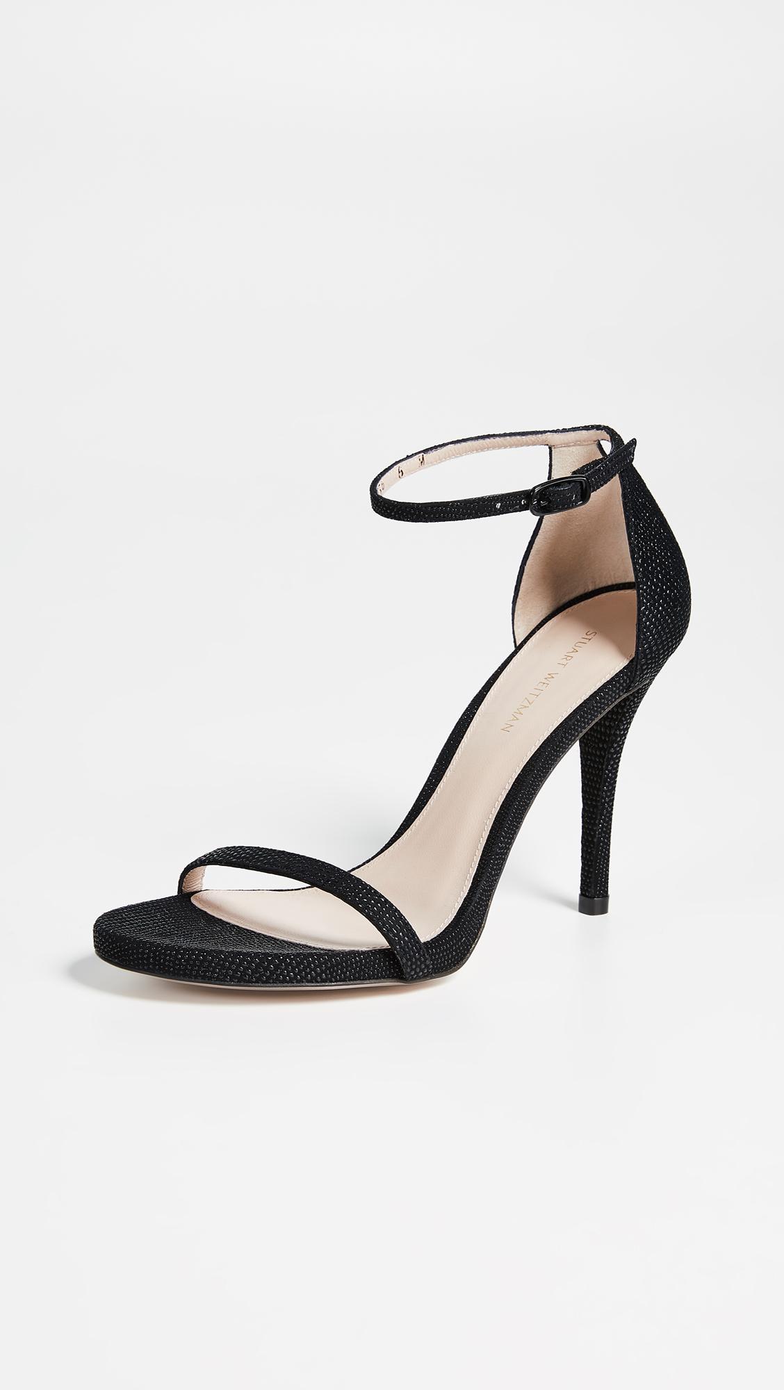 476d1816f84 Stuart Weitzman - Black Nudist Curved Heel Sandals - Lyst. View fullscreen
