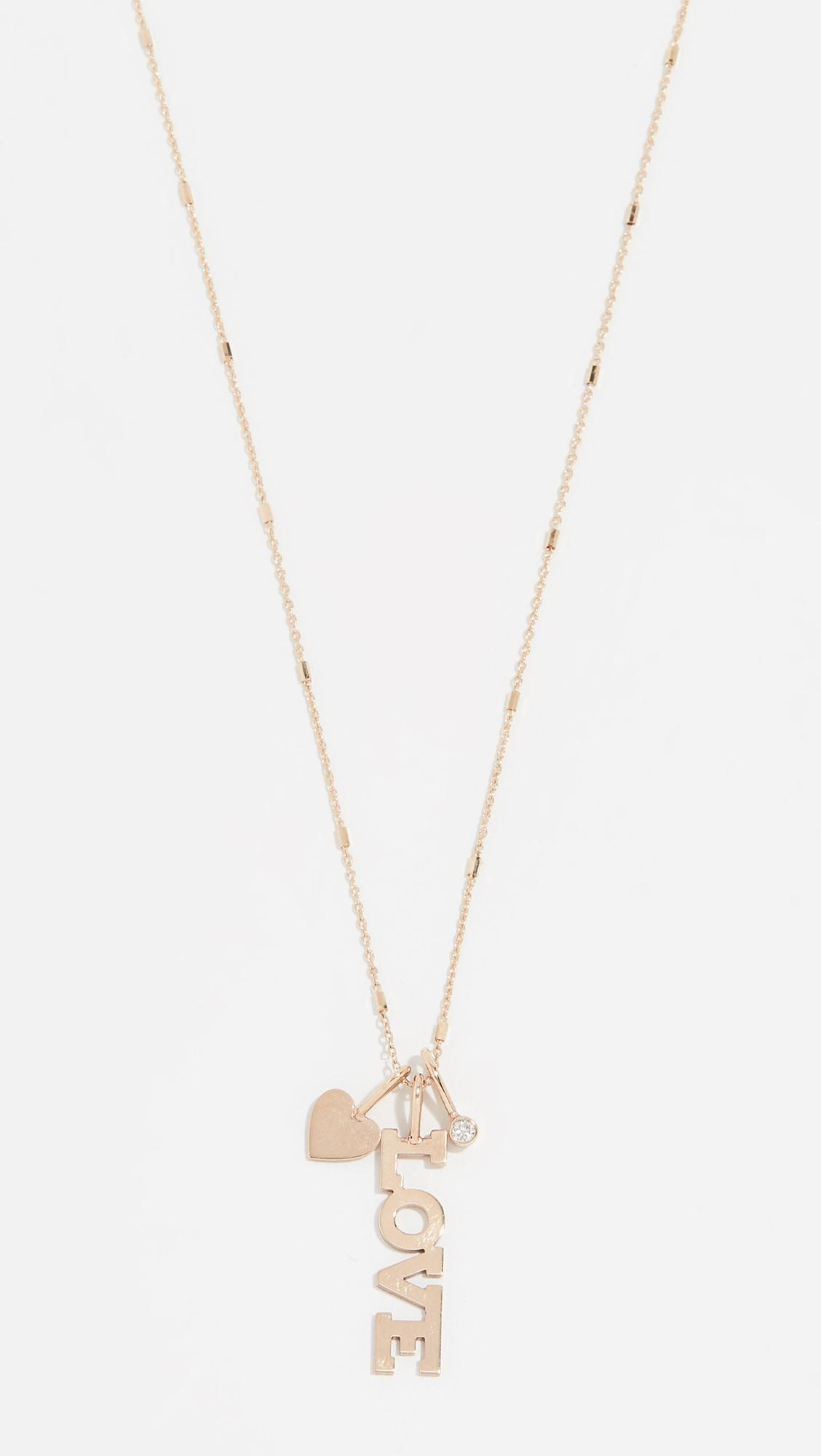 K/&C 14k Yellow Gold Small Block Initial C Charm on 14K Yellow Gold Rope Chain Necklace