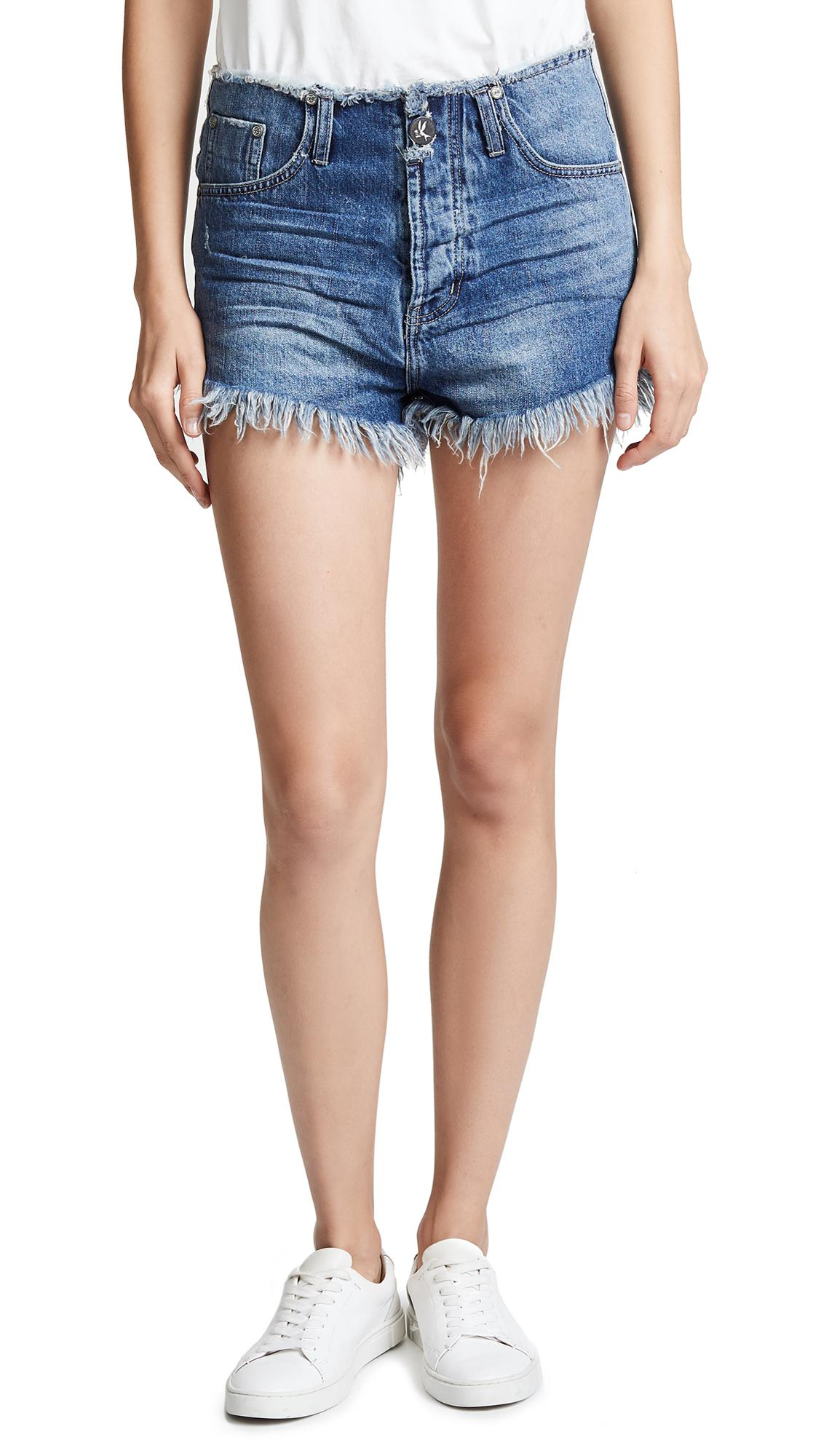 dccf85b189 One Teaspoon Oxford Outlaws Mid Length Denim Shorts in Blue - Lyst