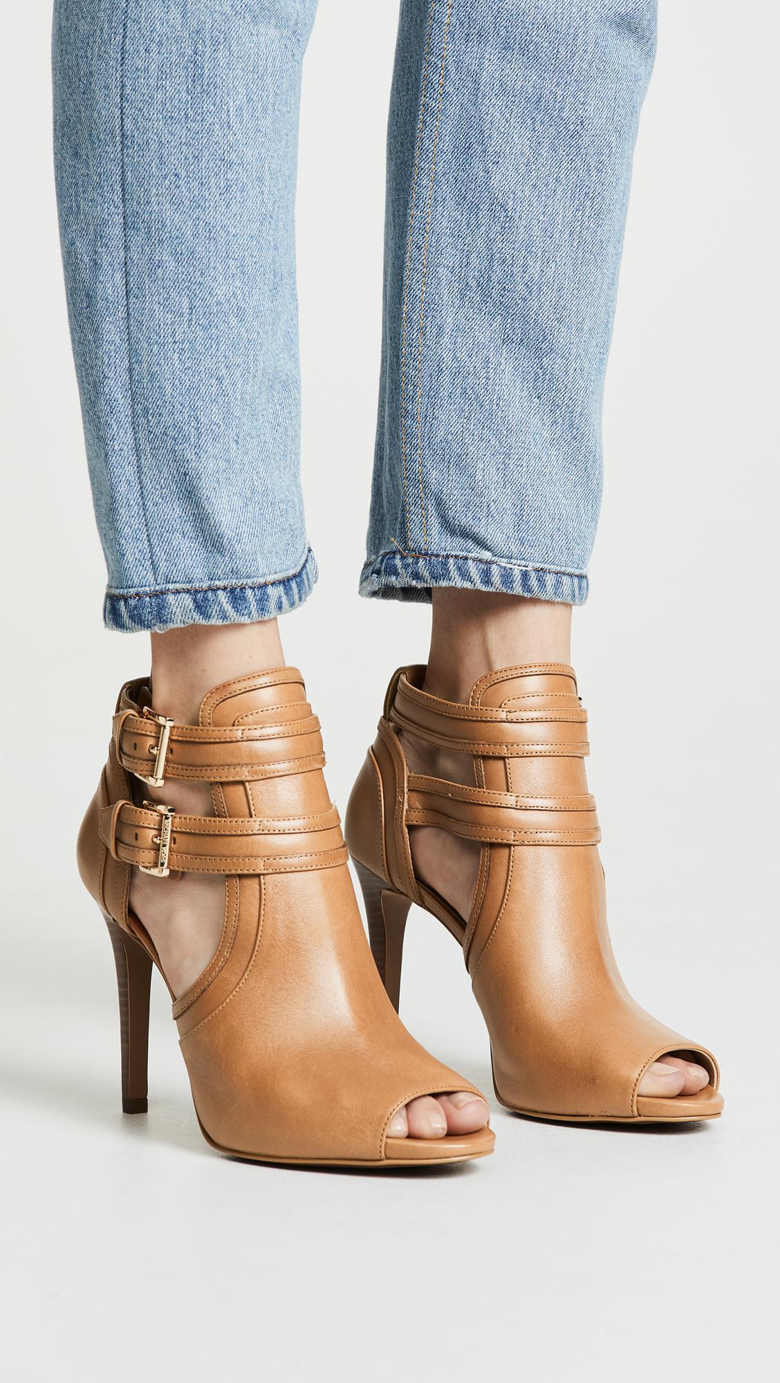 MICHAEL Michael Kors Leather Blaze Open Toe Booties