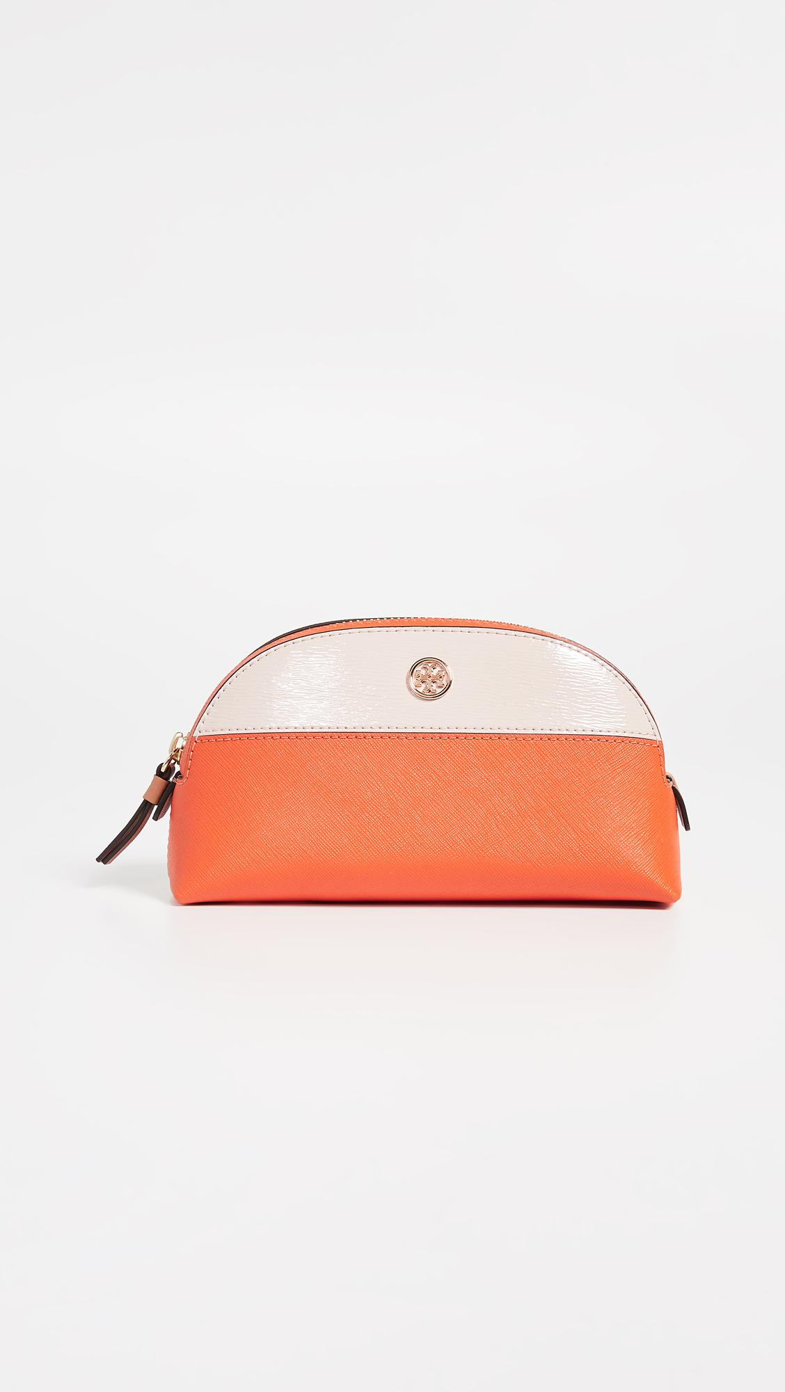 Lyst - Tory Burch Robinson Colorblock Small Makeup Bag in Orange 92169cdc4a071