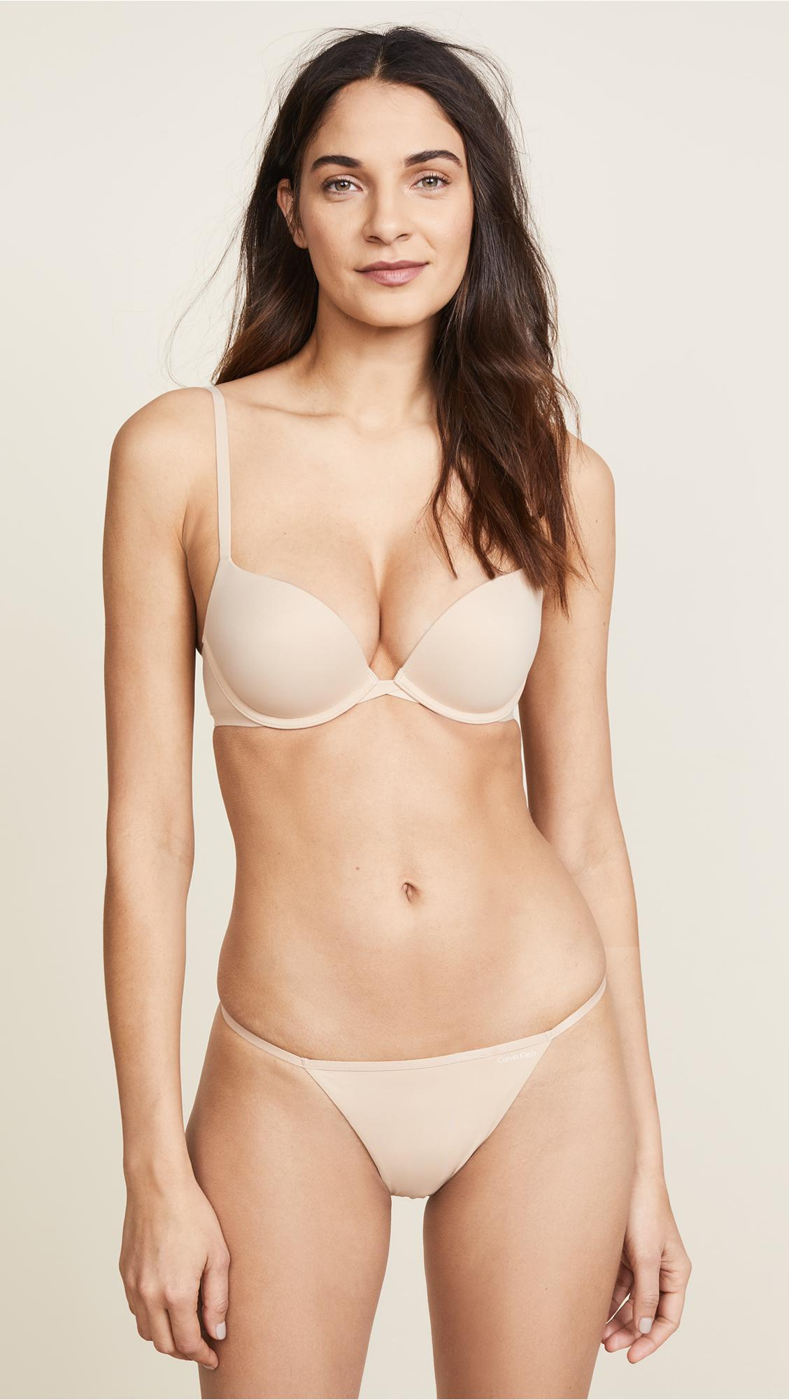 1774291206 Calvin Klein Perfectly Fit Convertible Push Up Bra in Natural - Lyst