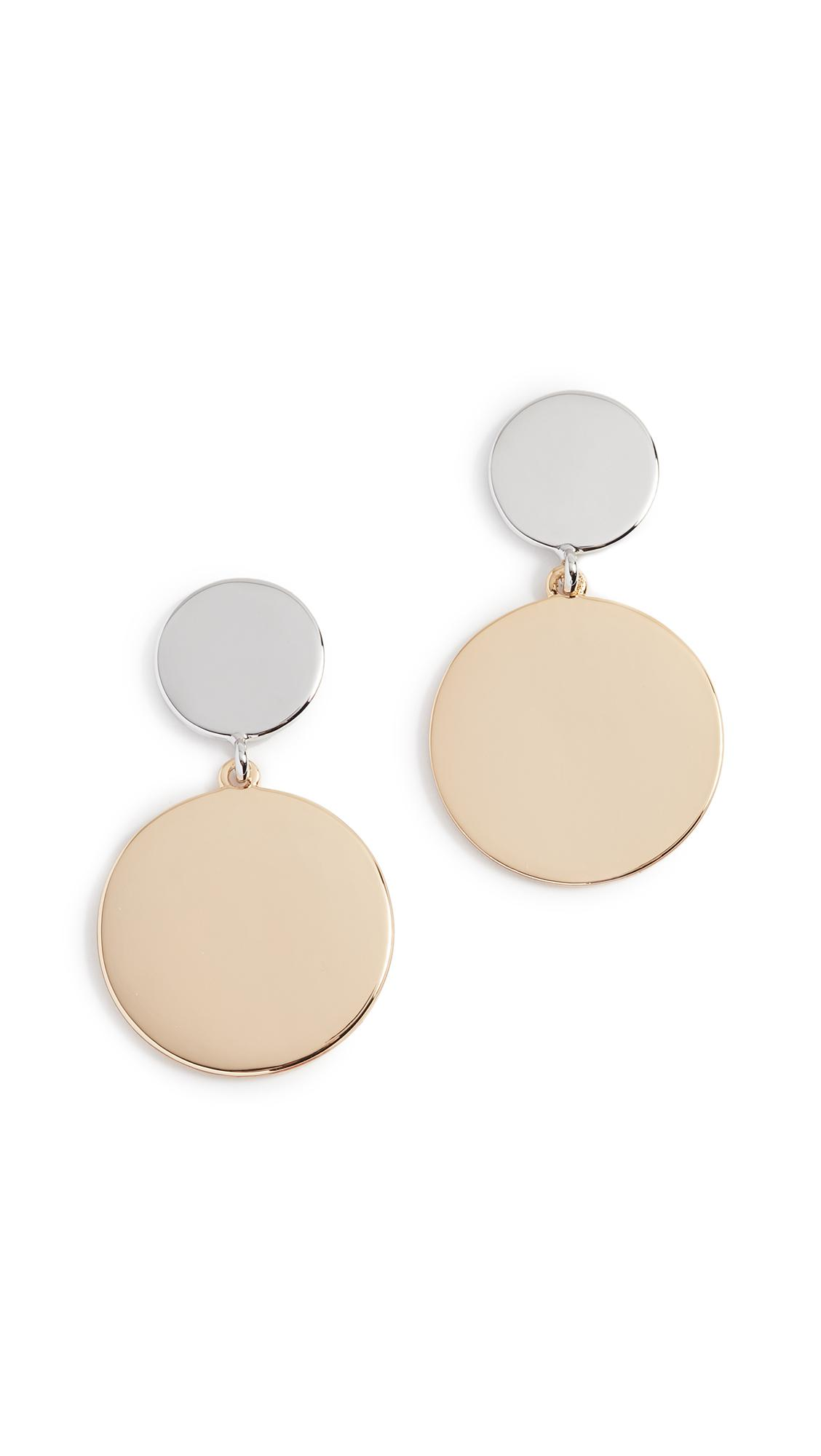 Rebecca Minkoff Stone Medallion Drops in Gold (Metallic)