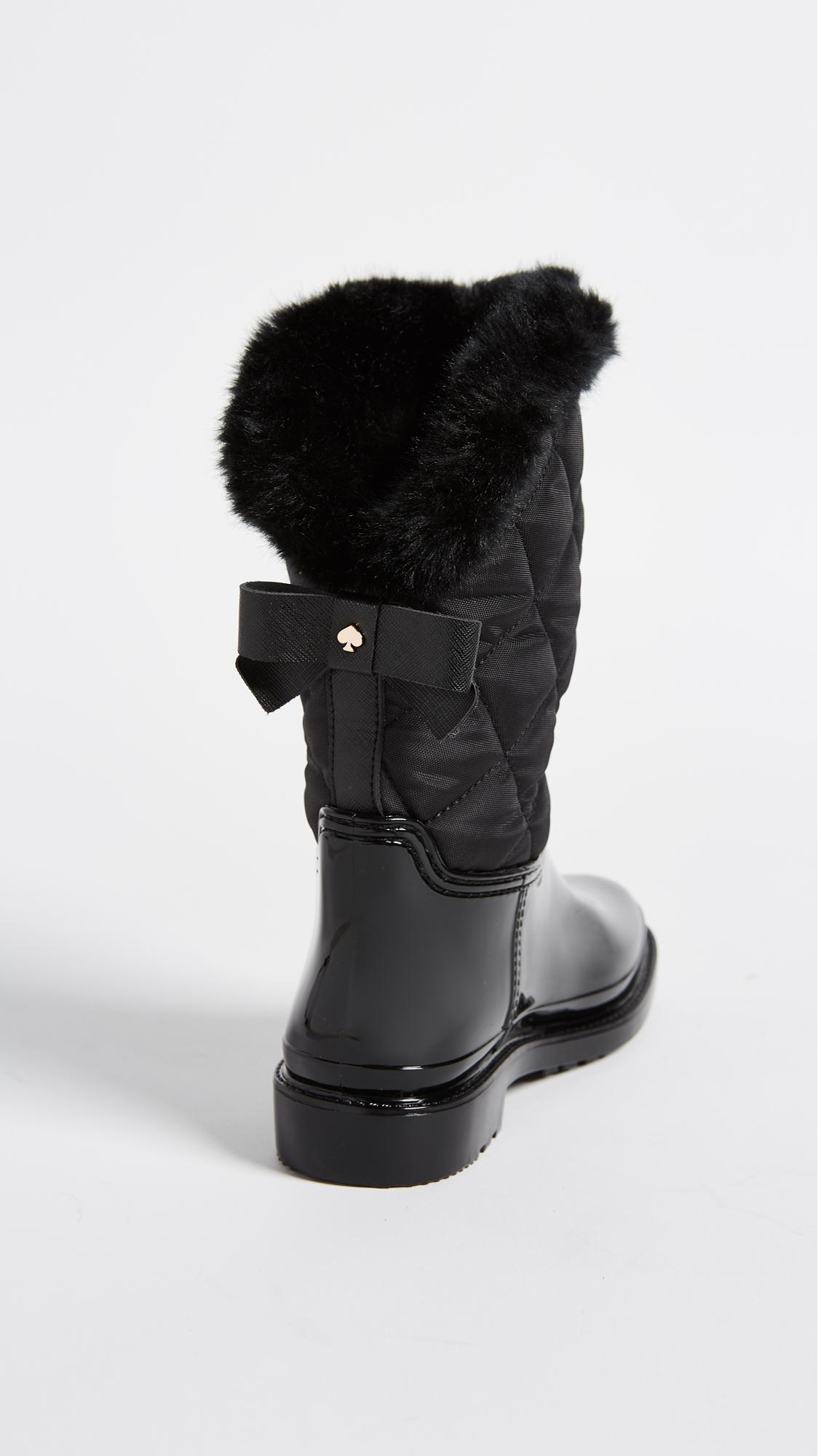 Kate Spade Reid Quilted Rubber Rainboots In Black Lyst