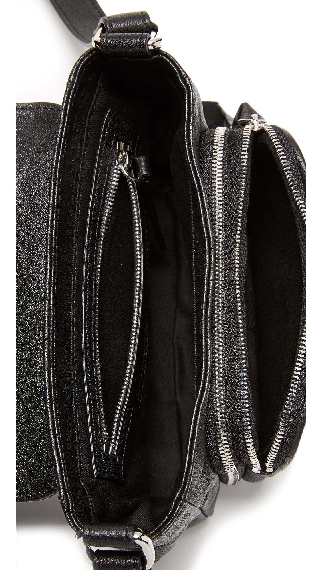 McQ Leather Biker Cross Body Bag in Black