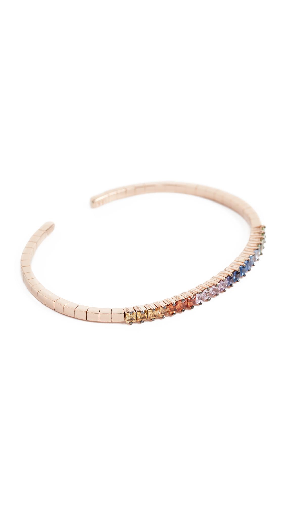 Suzanne Kalan 18k Gold Rainbow Fireworks Cuff Bracelet 0HXKz5lC0