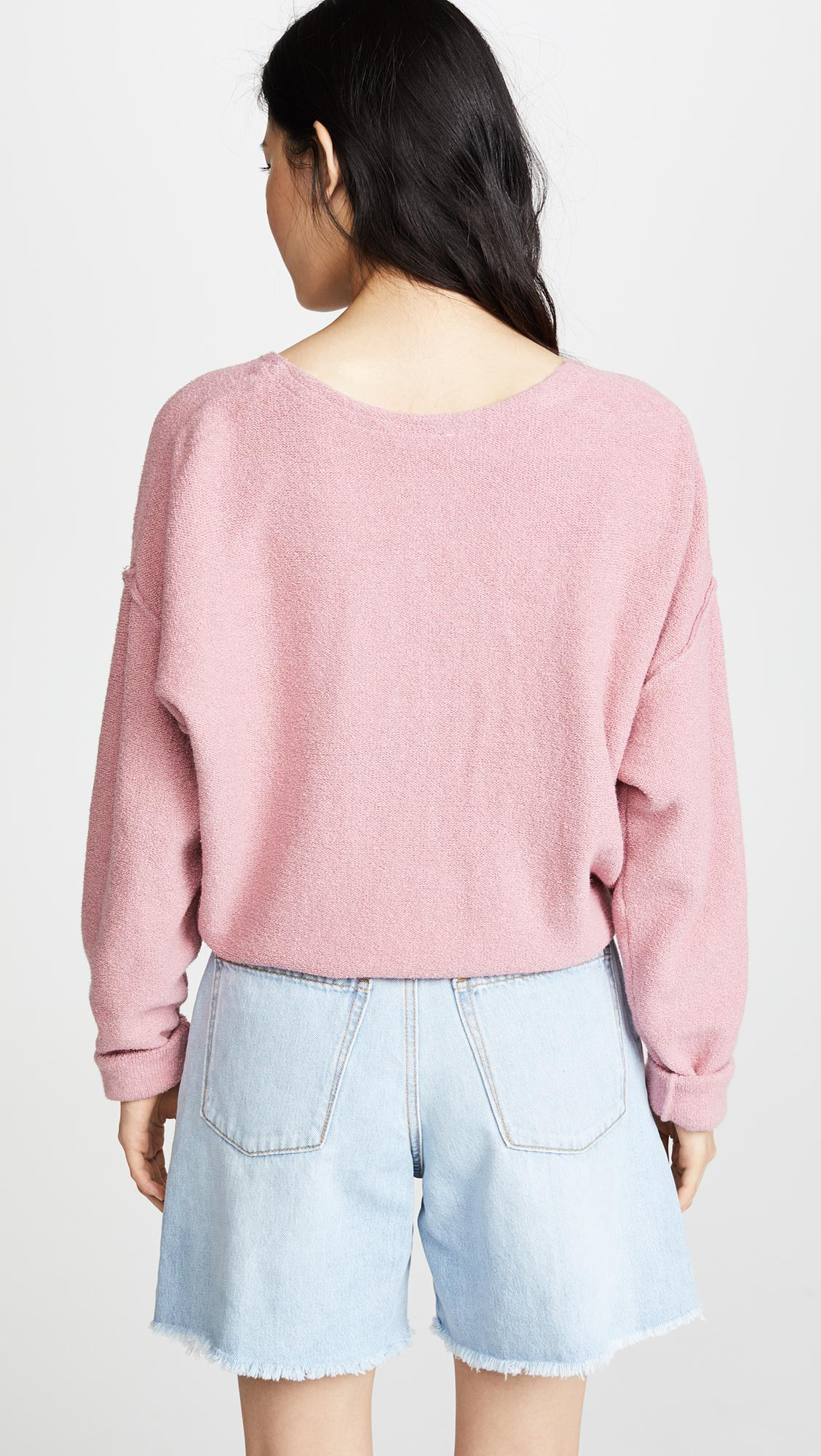Free People Cotton Take Me Places Pullover in Pink