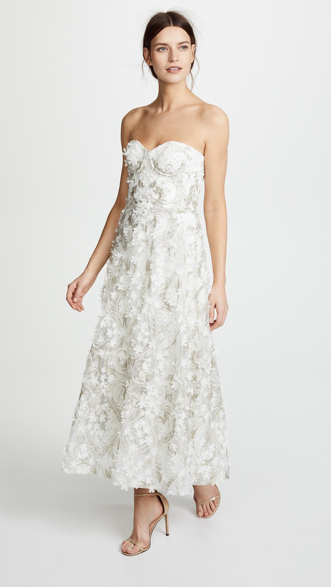 9df2a1c5 Marchesa notte 3d Embroidered Strapless Gown in White - Lyst