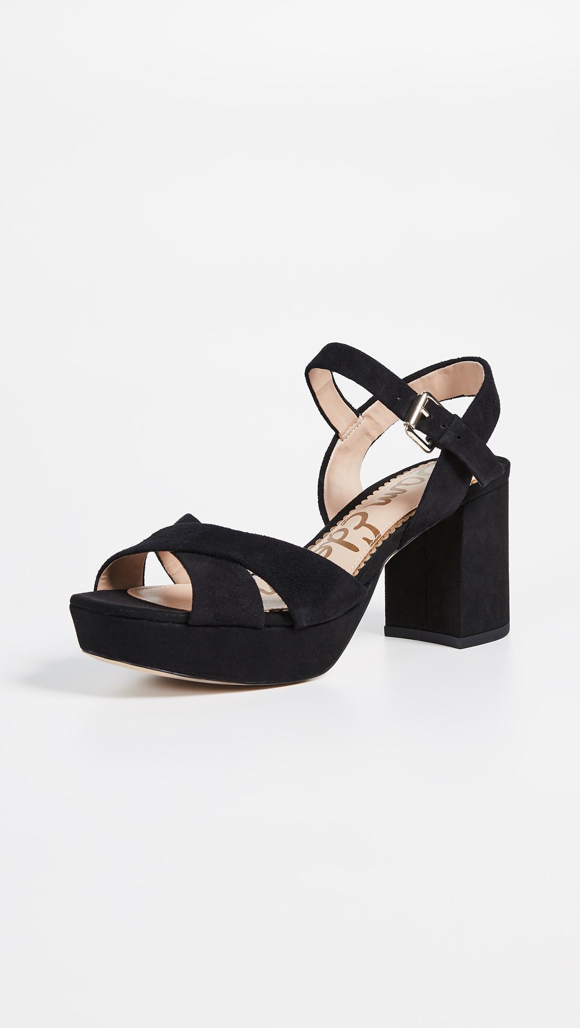 Black Sandals Lyst Edelman Platform Sam In Suede Jolene Rqc4jL35A