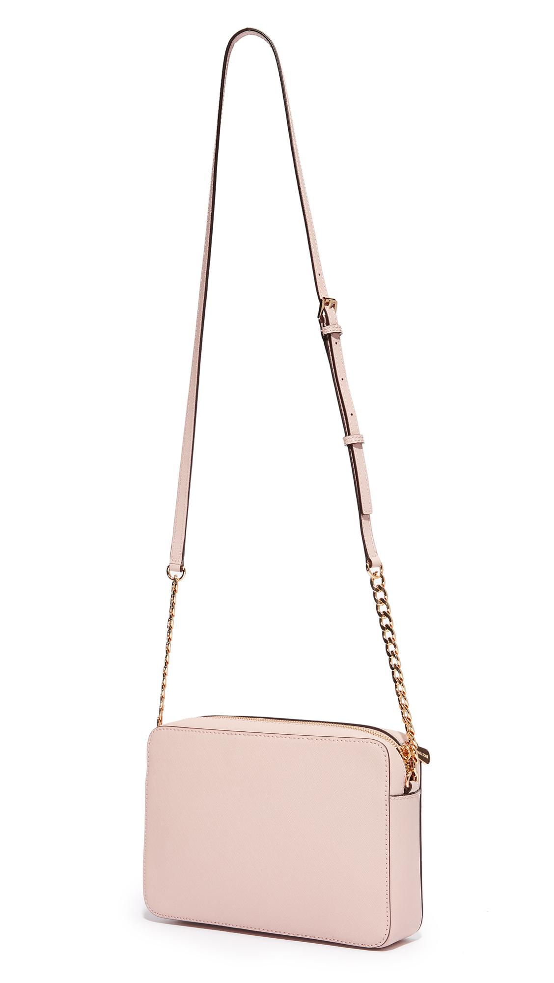 MICHAEL Michael Kors Leather Large East / West Cross Body Bag in Soft Pink (Pink)