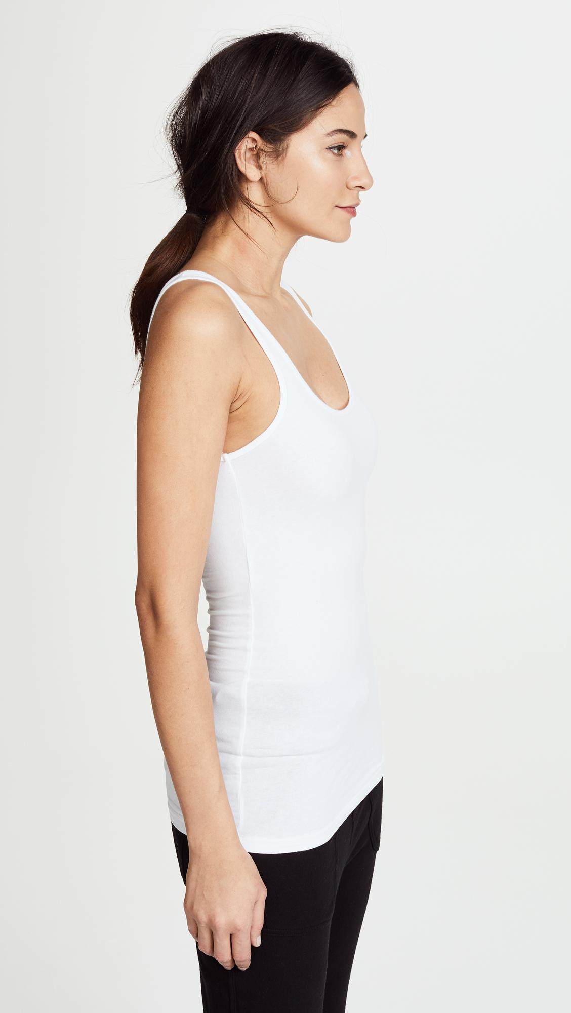 ea28f9d081f James Perse - White Brushed Jersey Long Tank - Lyst. View fullscreen