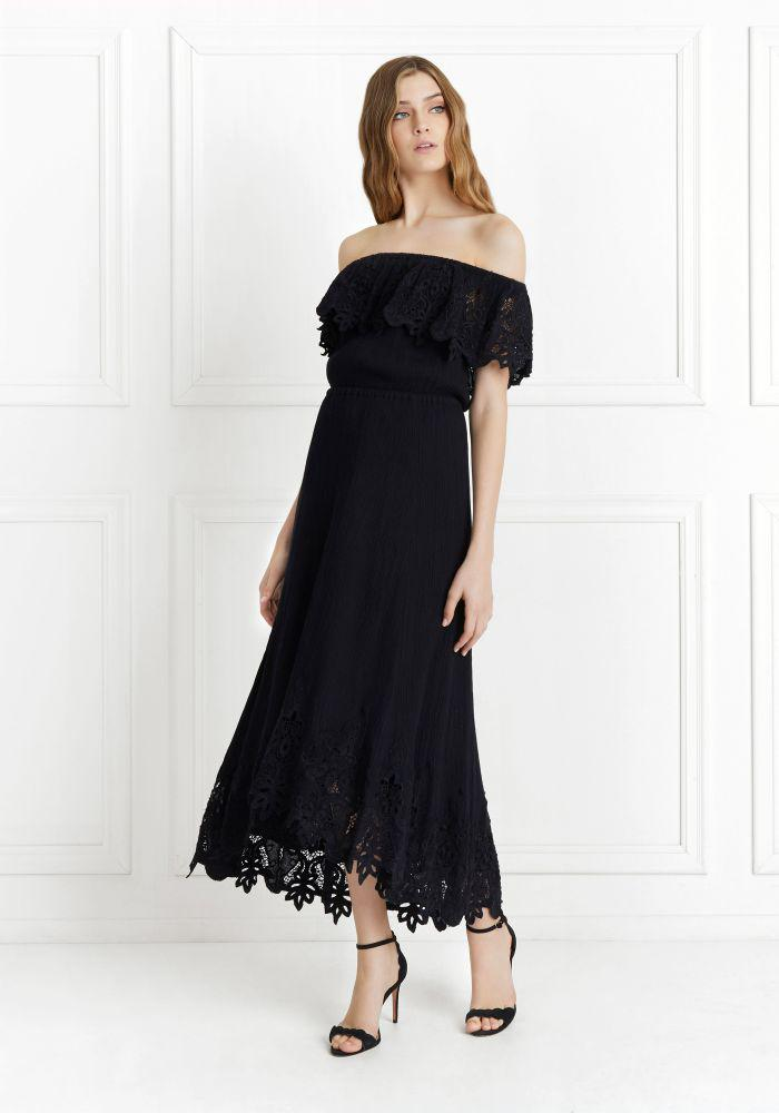 Cleo Off-the-shoulder Broderie Anglaise Crinkled-cotton Dress - Black Rachel Zoe Buy Cheap With Credit Card Discount Pick A Best Cheap Price Clearance Online S7ckDeZpfg